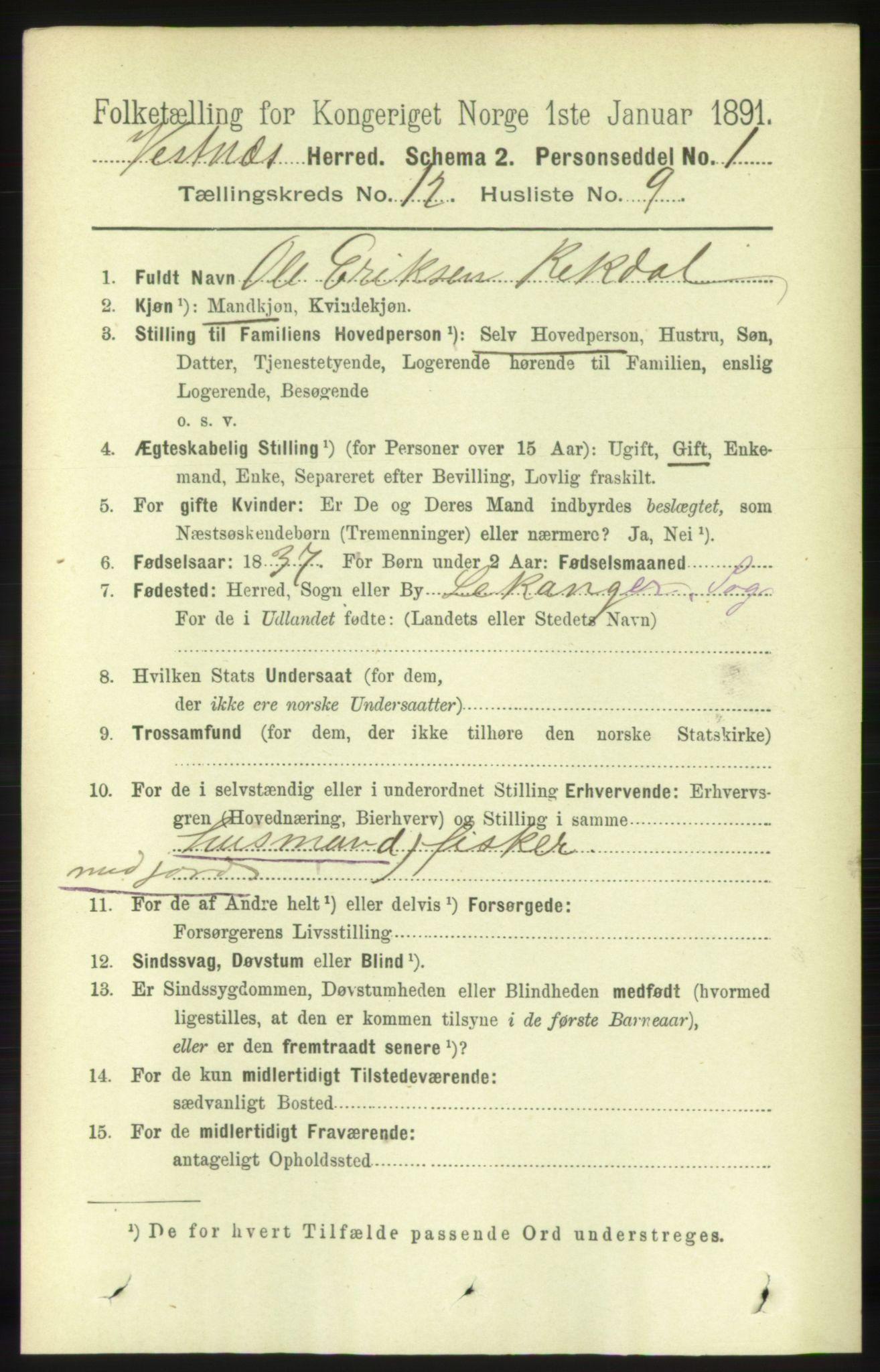 RA, Folketelling 1891 for 1535 Vestnes herred, 1891, s. 4462