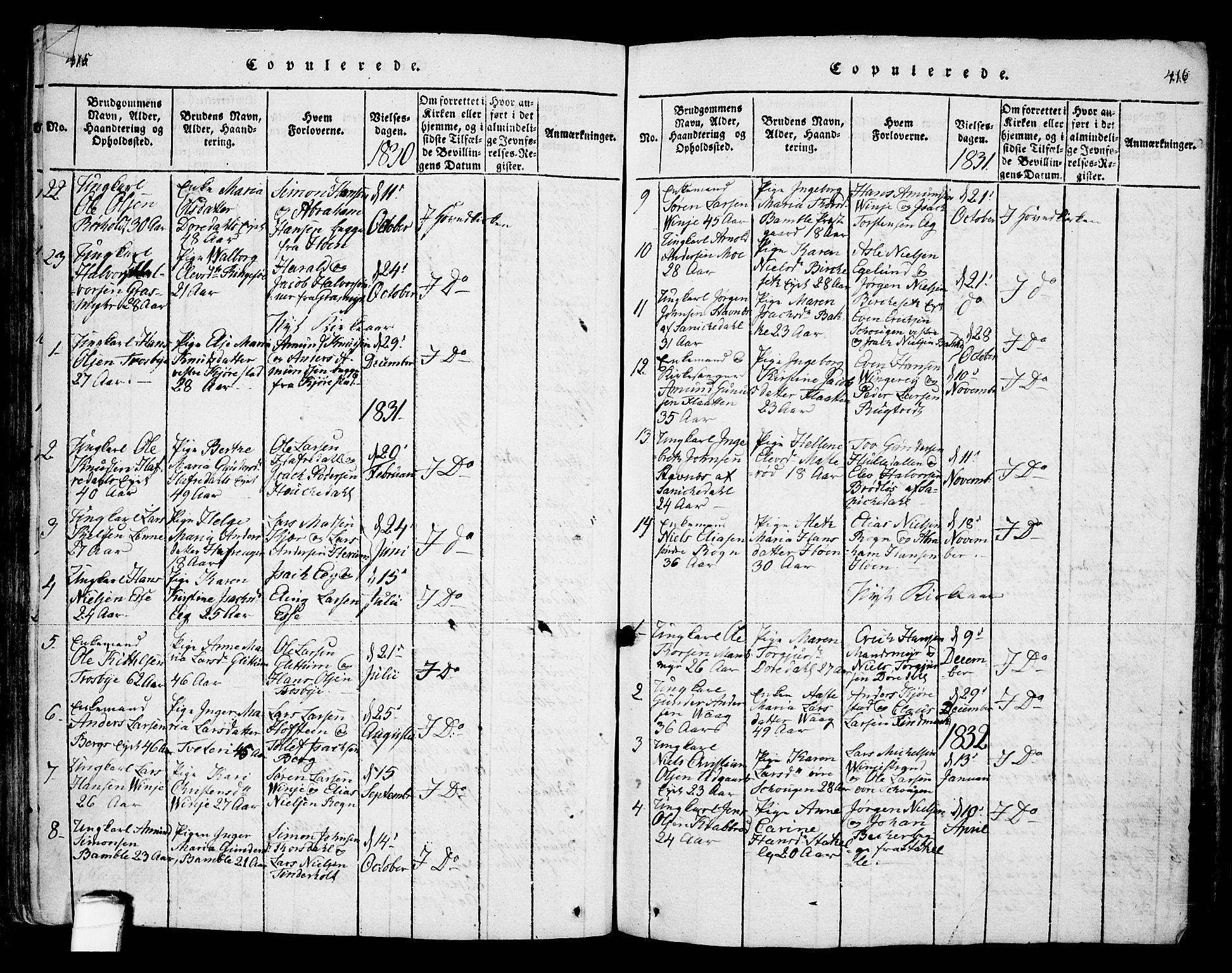 SAKO, Bamble kirkebøker, F/Fa/L0003: Ministerialbok nr. I 3 /1, 1814-1834, s. 415-416