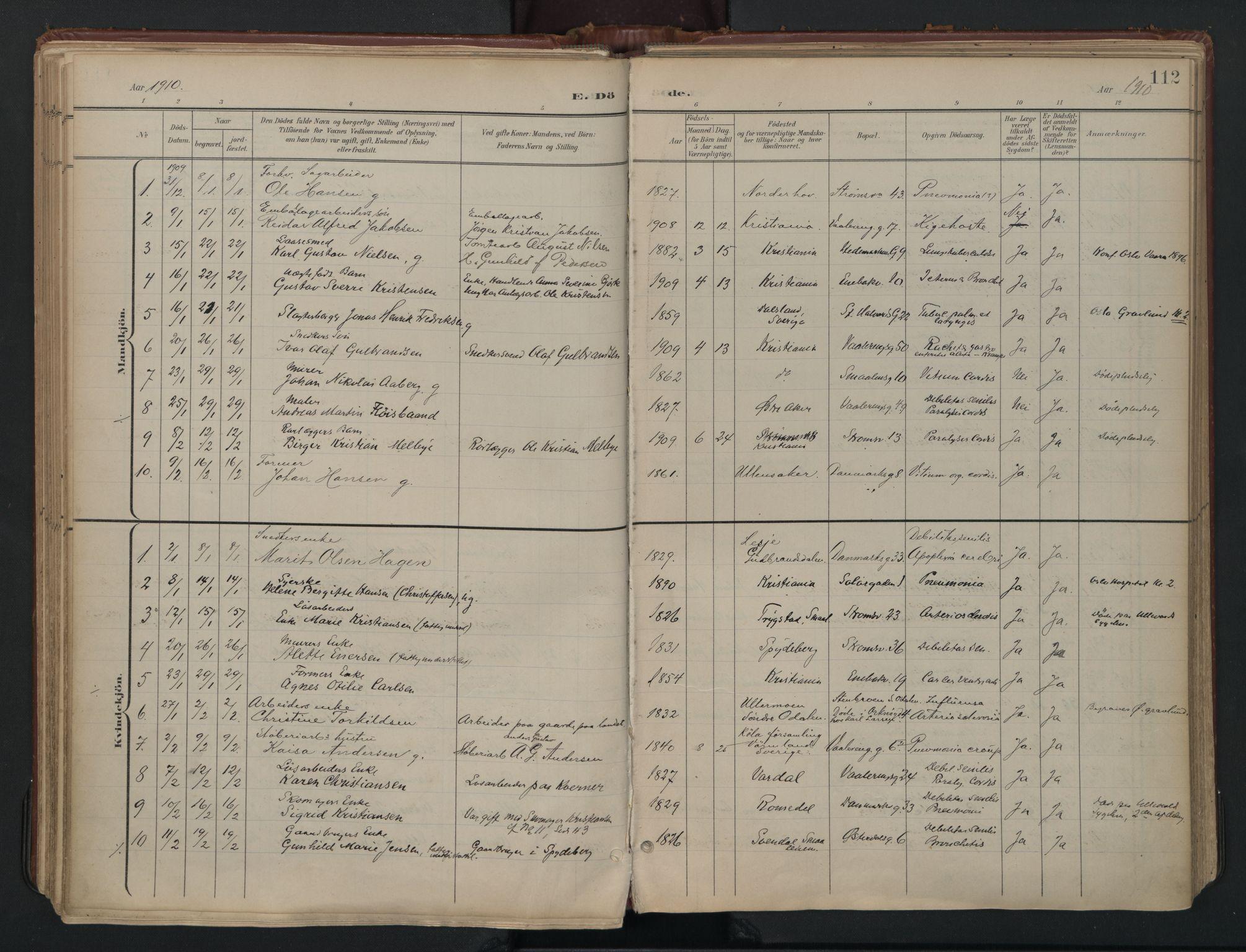 SAO, Vålerengen prestekontor Kirkebøker, F/Fa/L0003: Ministerialbok nr. 3, 1899-1930, s. 112