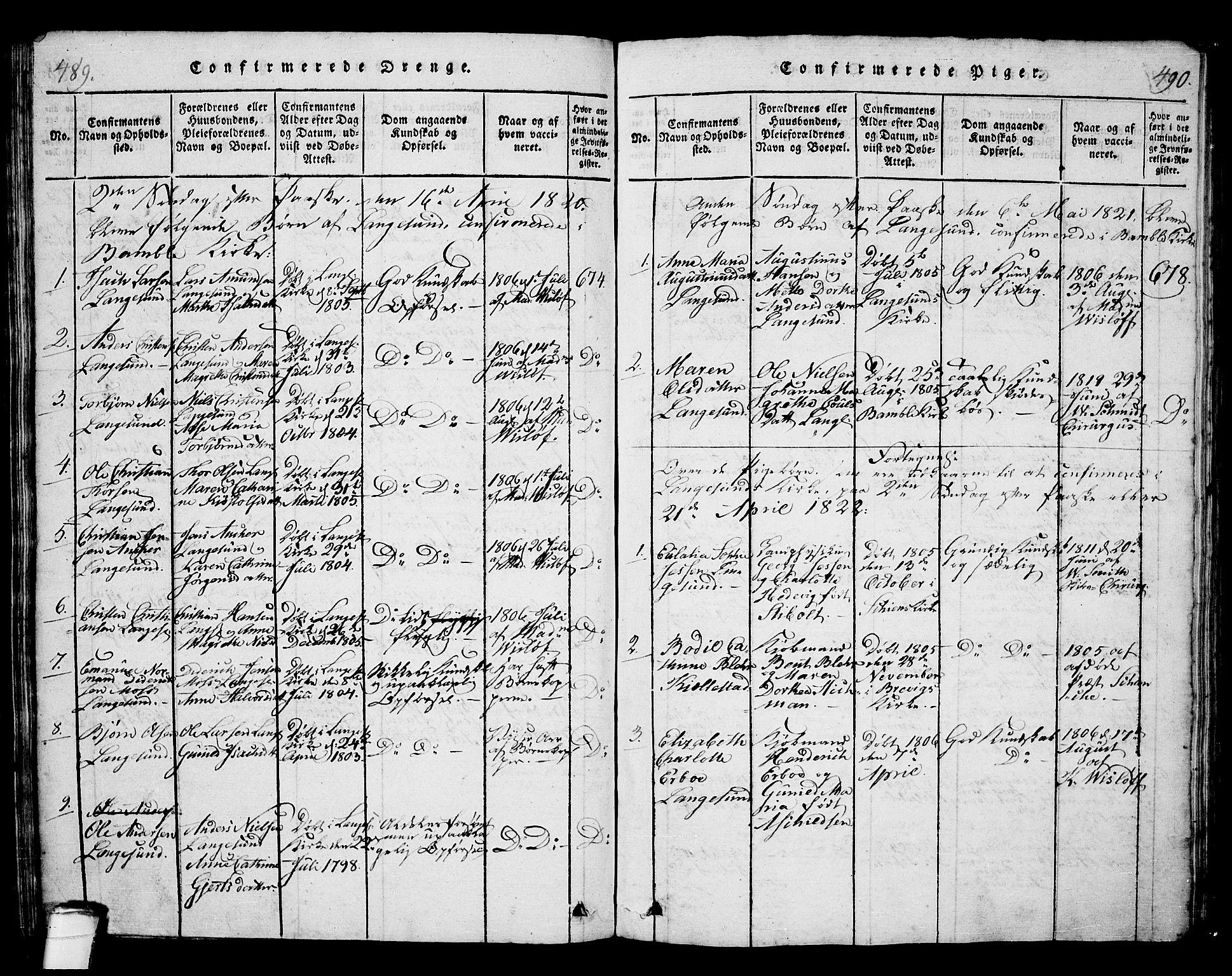 SAKO, Langesund kirkebøker, G/Ga/L0003: Klokkerbok nr. 3, 1815-1858, s. 489-490