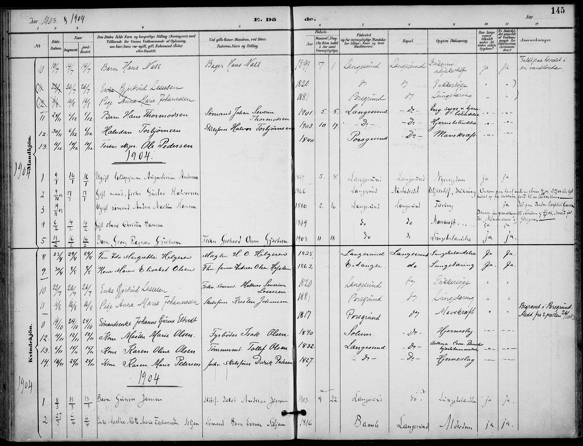 SAKO, Langesund kirkebøker, F/Fa/L0003: Ministerialbok nr. 3, 1893-1907, s. 145