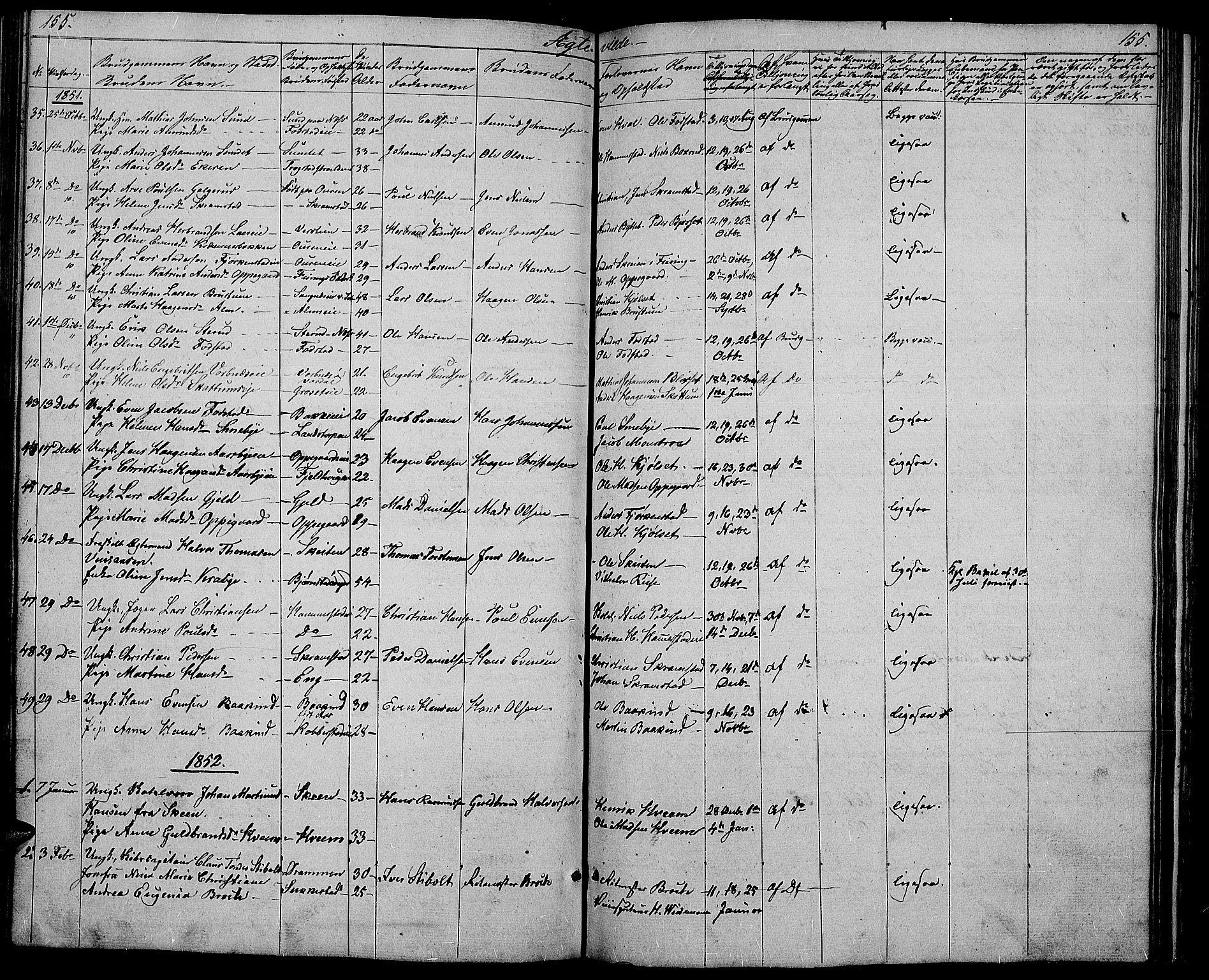 SAH, Østre Toten prestekontor, Klokkerbok nr. 3, 1848-1857, s. 155