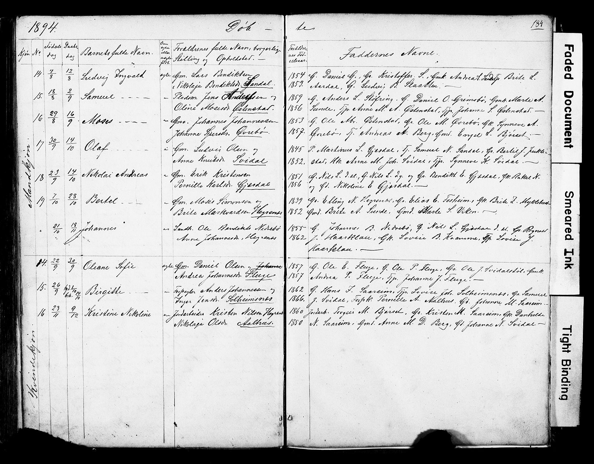 SAB, Jølster Sokneprestembete, H/Hab/Haba/L0001: Klokkerbok nr. A 1, 1853-1894, s. 184
