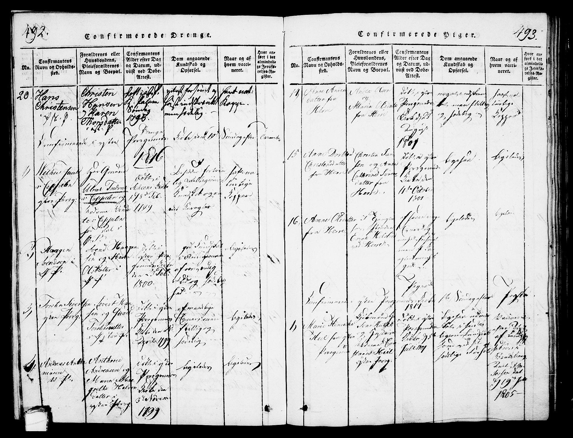 SAKO, Porsgrunn kirkebøker , G/Gb/L0001: Klokkerbok nr. II 1, 1817-1828, s. 492-493