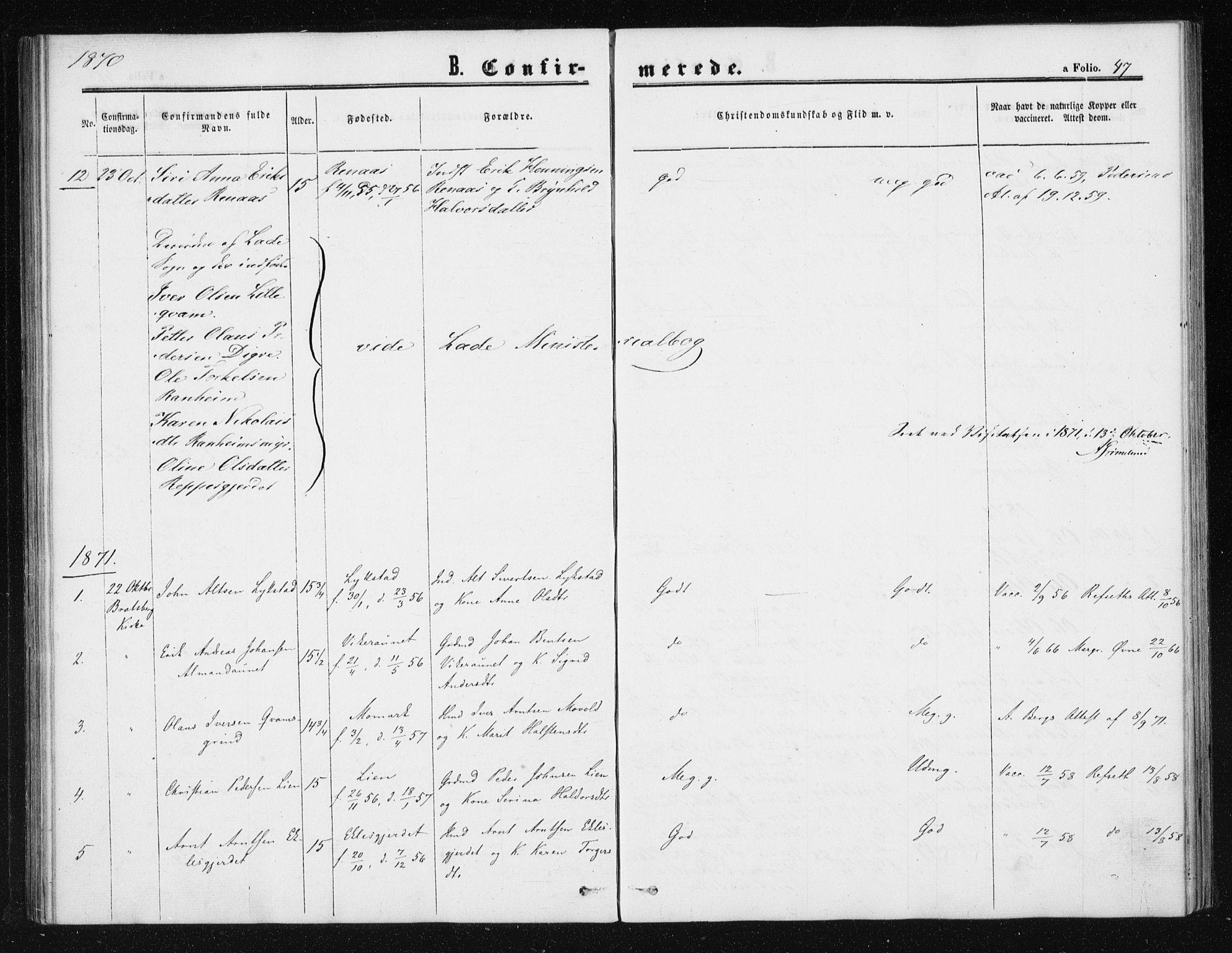 SAT, Ministerialprotokoller, klokkerbøker og fødselsregistre - Sør-Trøndelag, 608/L0333: Ministerialbok nr. 608A02, 1862-1876, s. 47