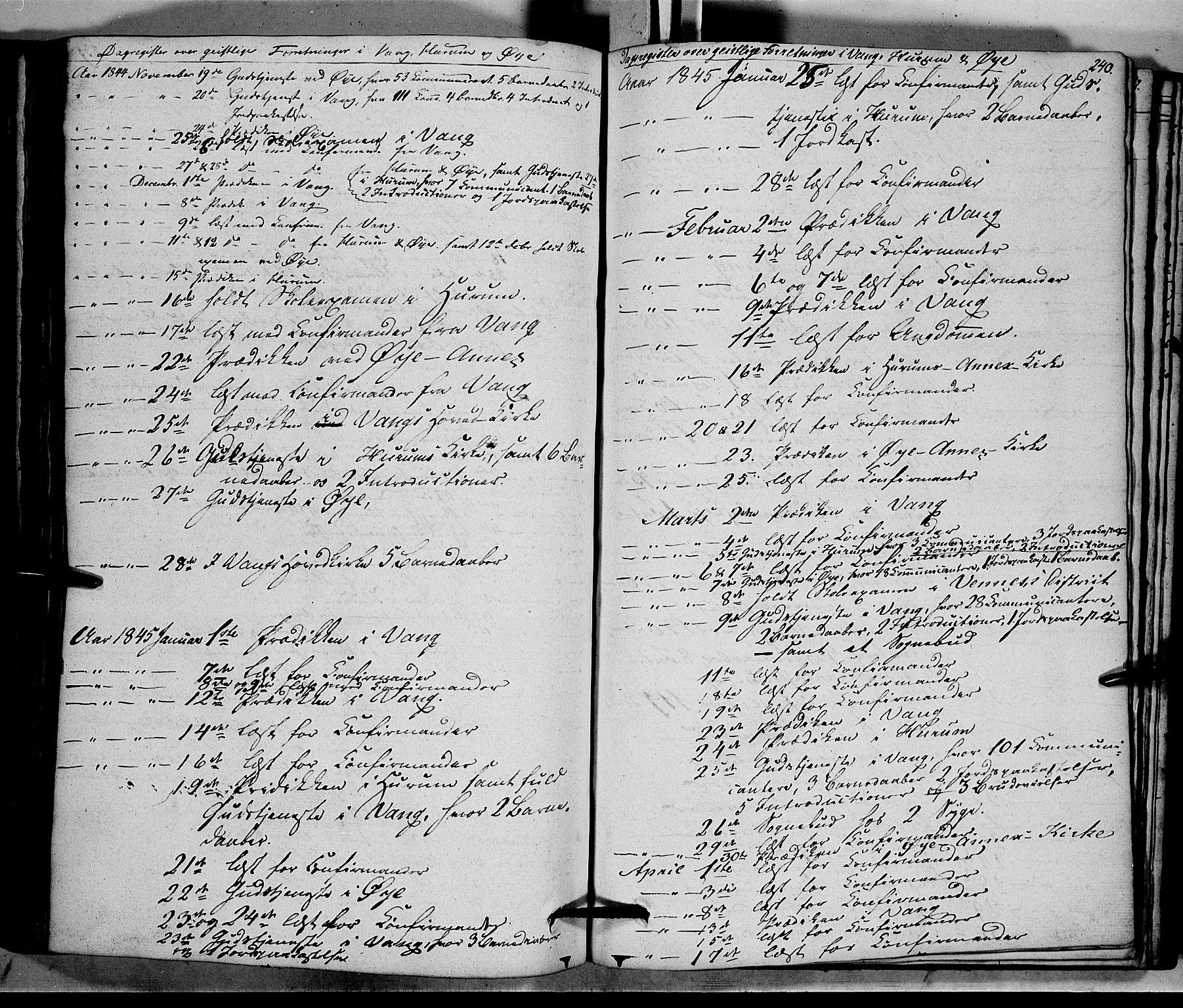 SAH, Vang prestekontor, Valdres, Ministerialbok nr. 5, 1831-1845, s. 240