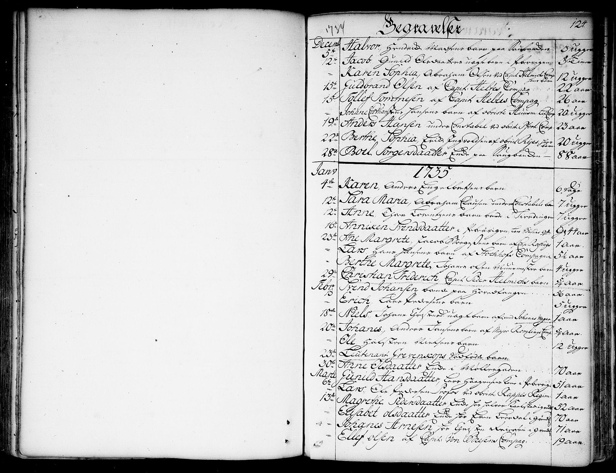 SAO, Garnisonsmenigheten Kirkebøker, F/Fa/L0001: Ministerialbok nr. 1, 1734-1756, s. 124