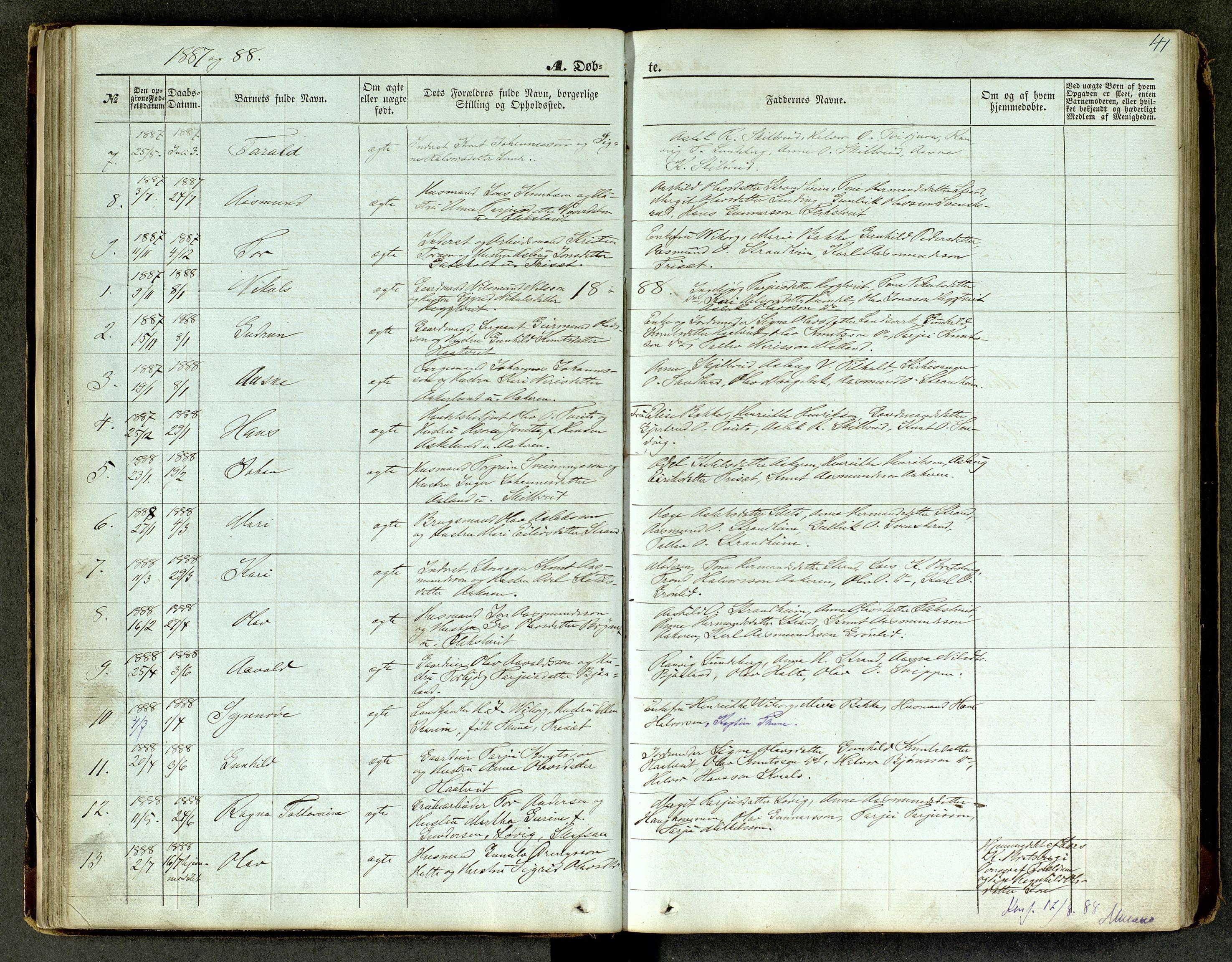 SAKO, Lårdal kirkebøker, G/Ga/L0002: Klokkerbok nr. I 2, 1861-1890, s. 41