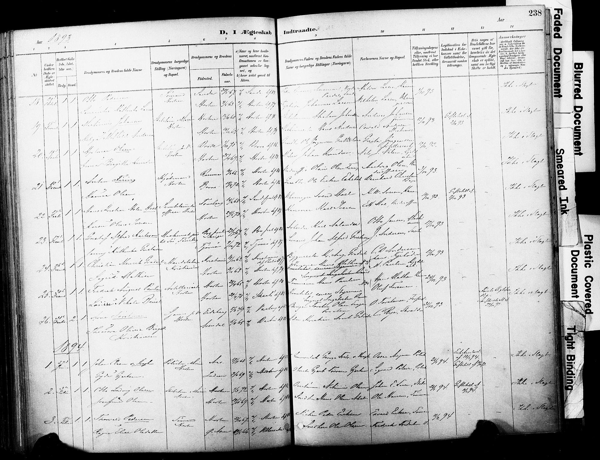 SAKO, Horten kirkebøker, F/Fa/L0004: Ministerialbok nr. 4, 1888-1895, s. 238