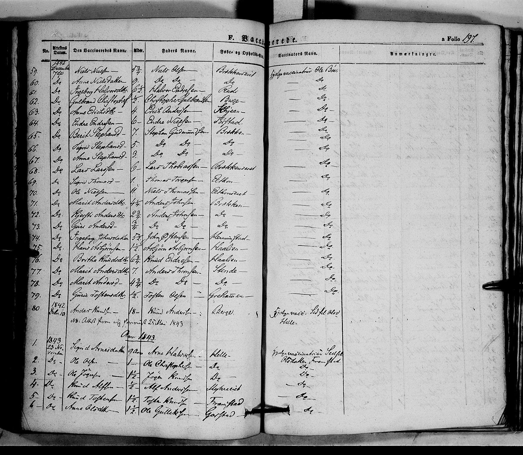 SAH, Vang prestekontor, Valdres, Ministerialbok nr. 5, 1831-1845, s. 197