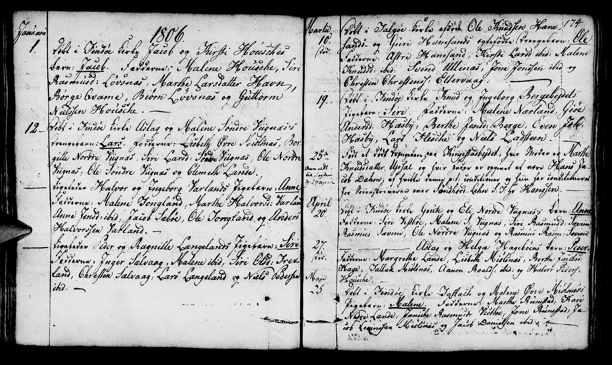 SAST, Finnøy sokneprestkontor, H/Ha/Haa/L0005: Ministerialbok nr. A 5, 1773-1816, s. 174