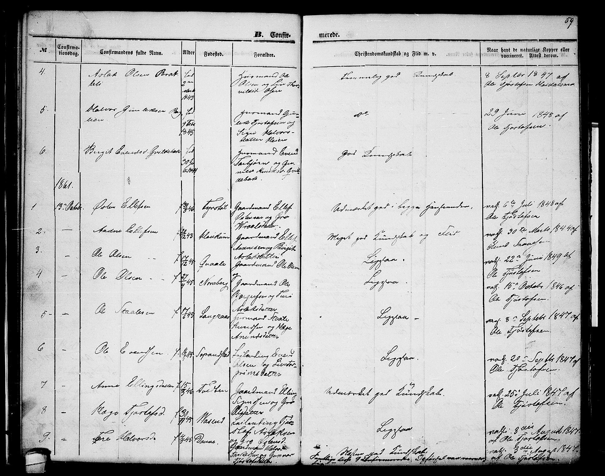 SAKO, Lårdal kirkebøker, G/Gc/L0002: Klokkerbok nr. III 2, 1852-1877, s. 59