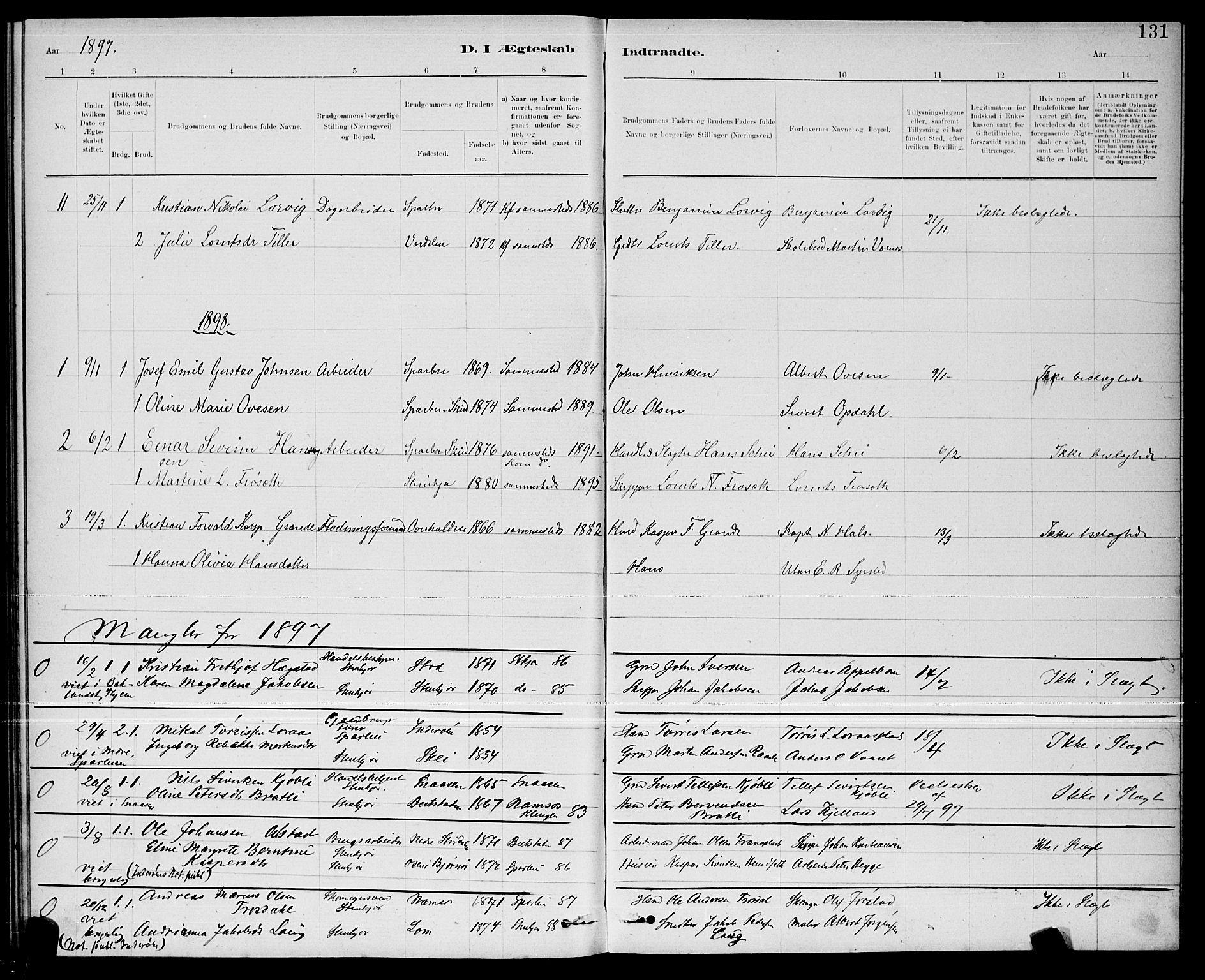 SAT, Ministerialprotokoller, klokkerbøker og fødselsregistre - Nord-Trøndelag, 739/L0374: Klokkerbok nr. 739C02, 1883-1898, s. 131