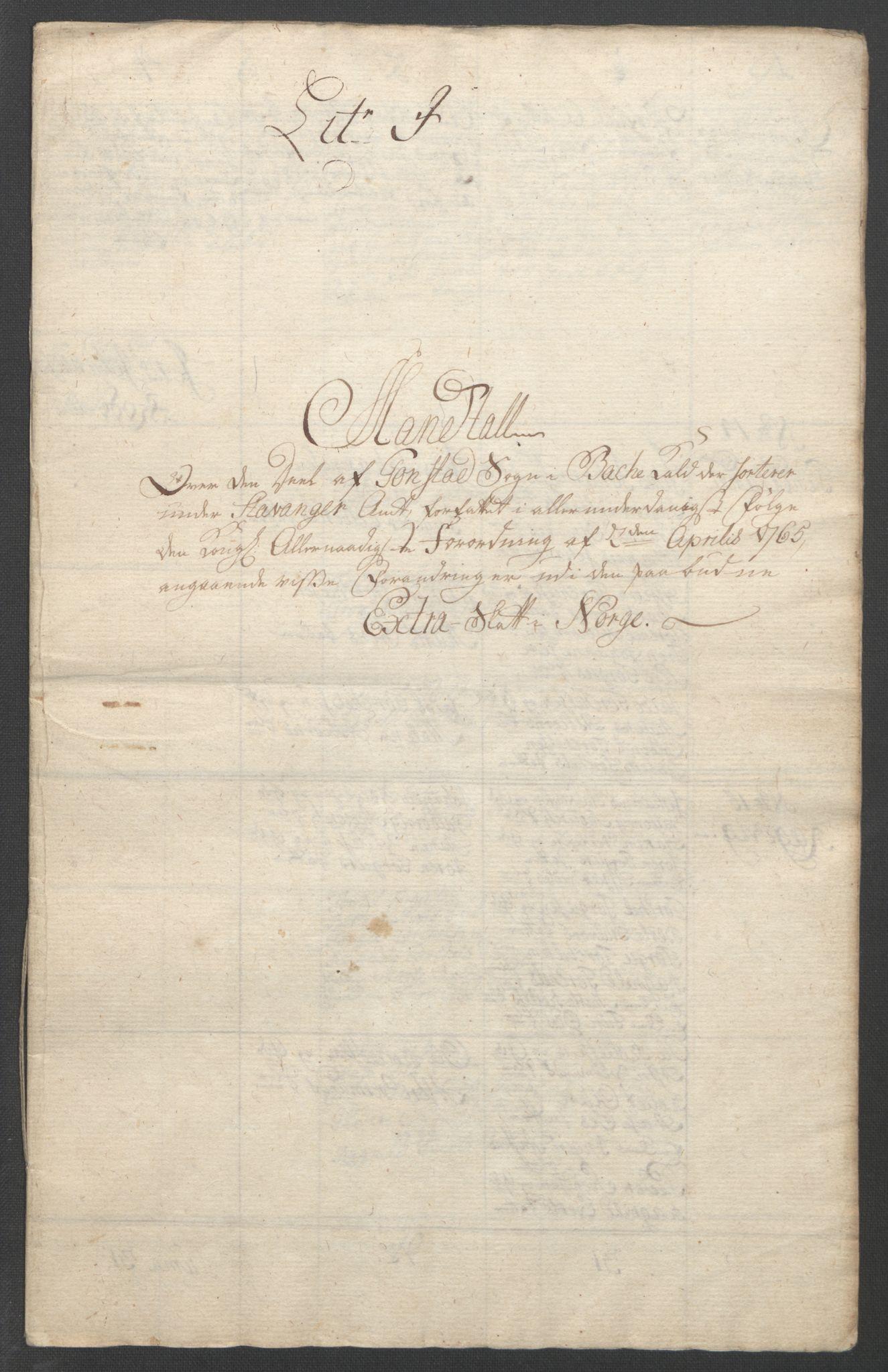 RA, Rentekammeret inntil 1814, Reviderte regnskaper, Fogderegnskap, R46/L2836: Ekstraskatten Jæren og Dalane, 1764-1766, s. 203