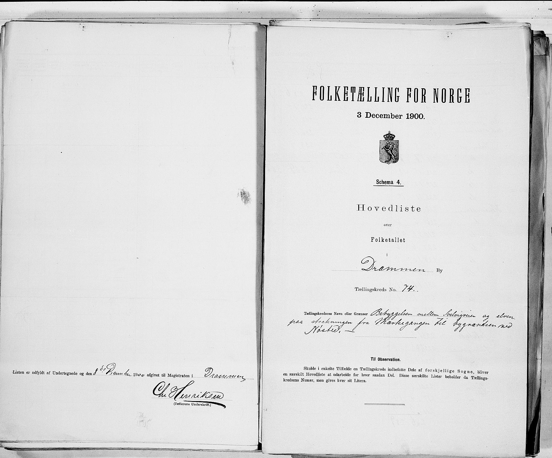 RA, Folketelling 1900 for 0602 Drammen kjøpstad, 1900, s. 151