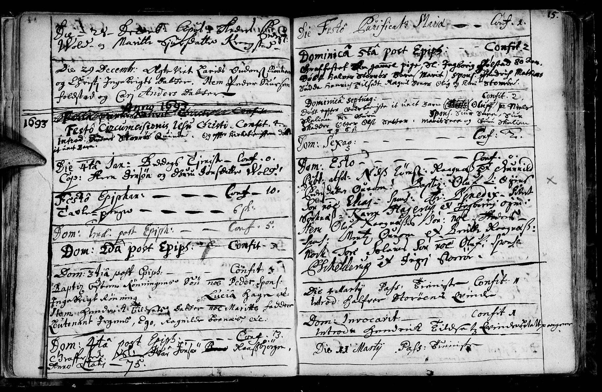 SAT, Ministerialprotokoller, klokkerbøker og fødselsregistre - Sør-Trøndelag, 687/L0990: Ministerialbok nr. 687A01, 1690-1746, s. 15