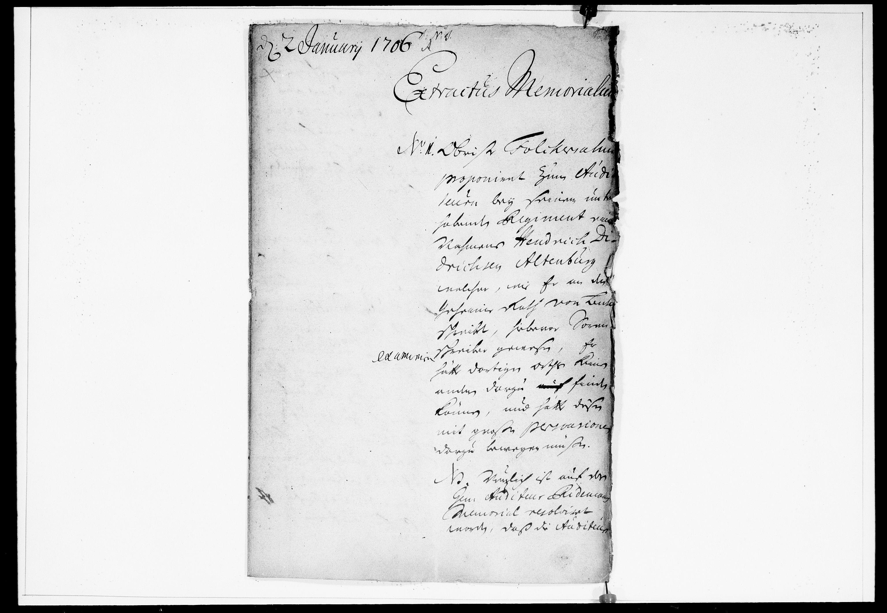 DRA, Krigskollegiet, Krigskancelliet, -/0951-0956: Refererede sager, 1706, s. 2