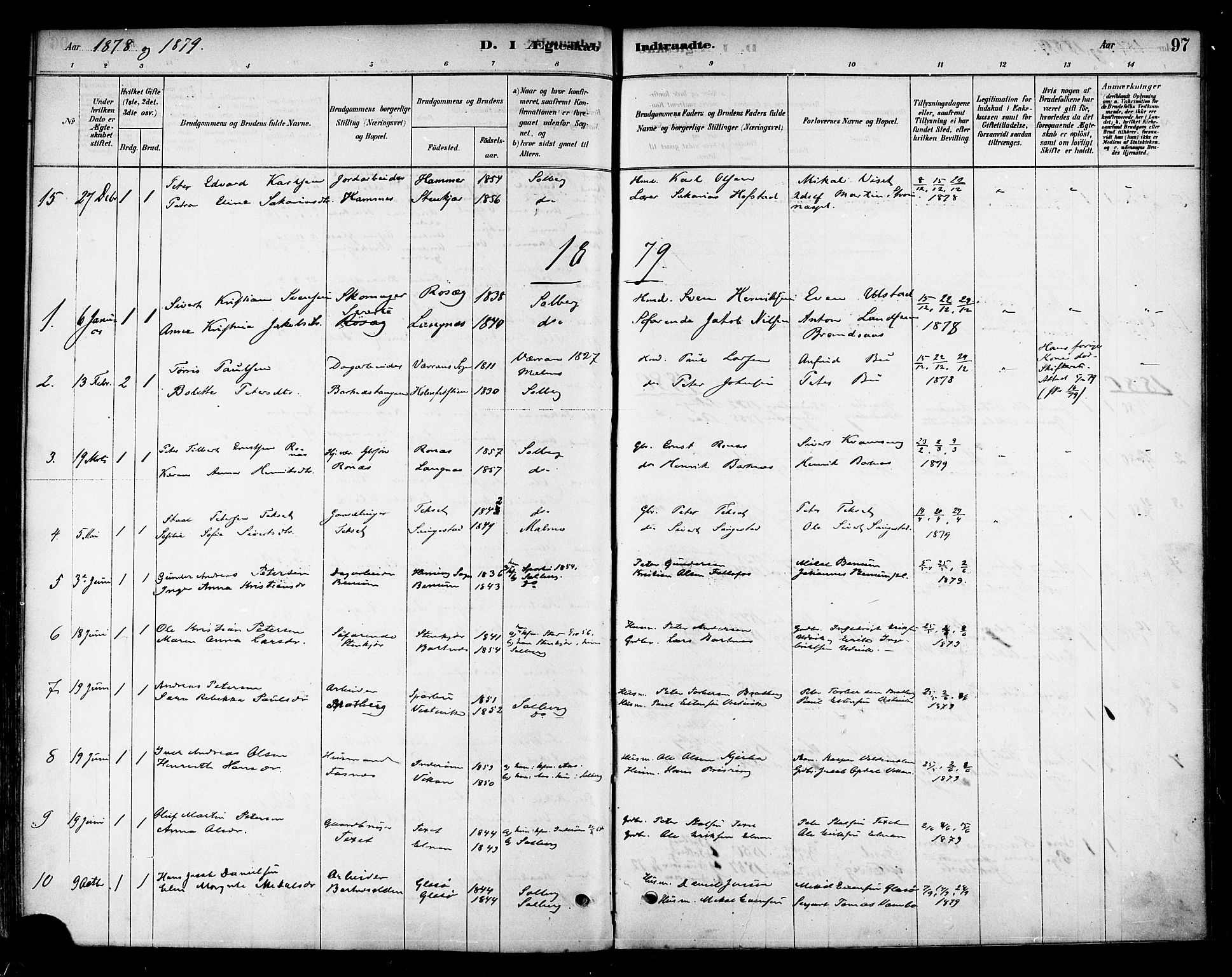SAT, Ministerialprotokoller, klokkerbøker og fødselsregistre - Nord-Trøndelag, 741/L0395: Ministerialbok nr. 741A09, 1878-1888, s. 97