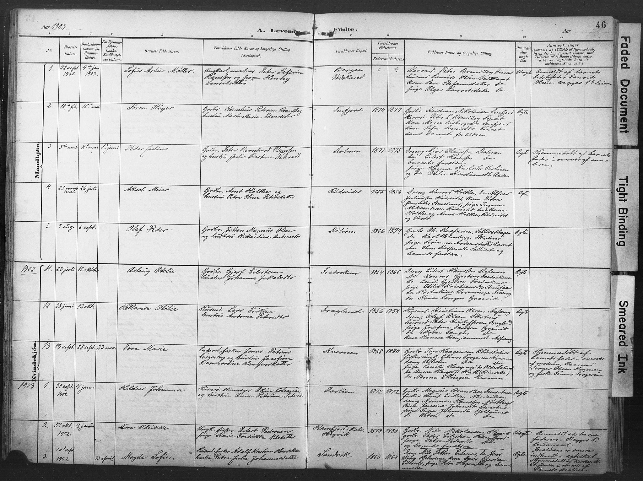 SAT, Ministerialprotokoller, klokkerbøker og fødselsregistre - Nord-Trøndelag, 789/L0706: Klokkerbok nr. 789C01, 1888-1931, s. 46