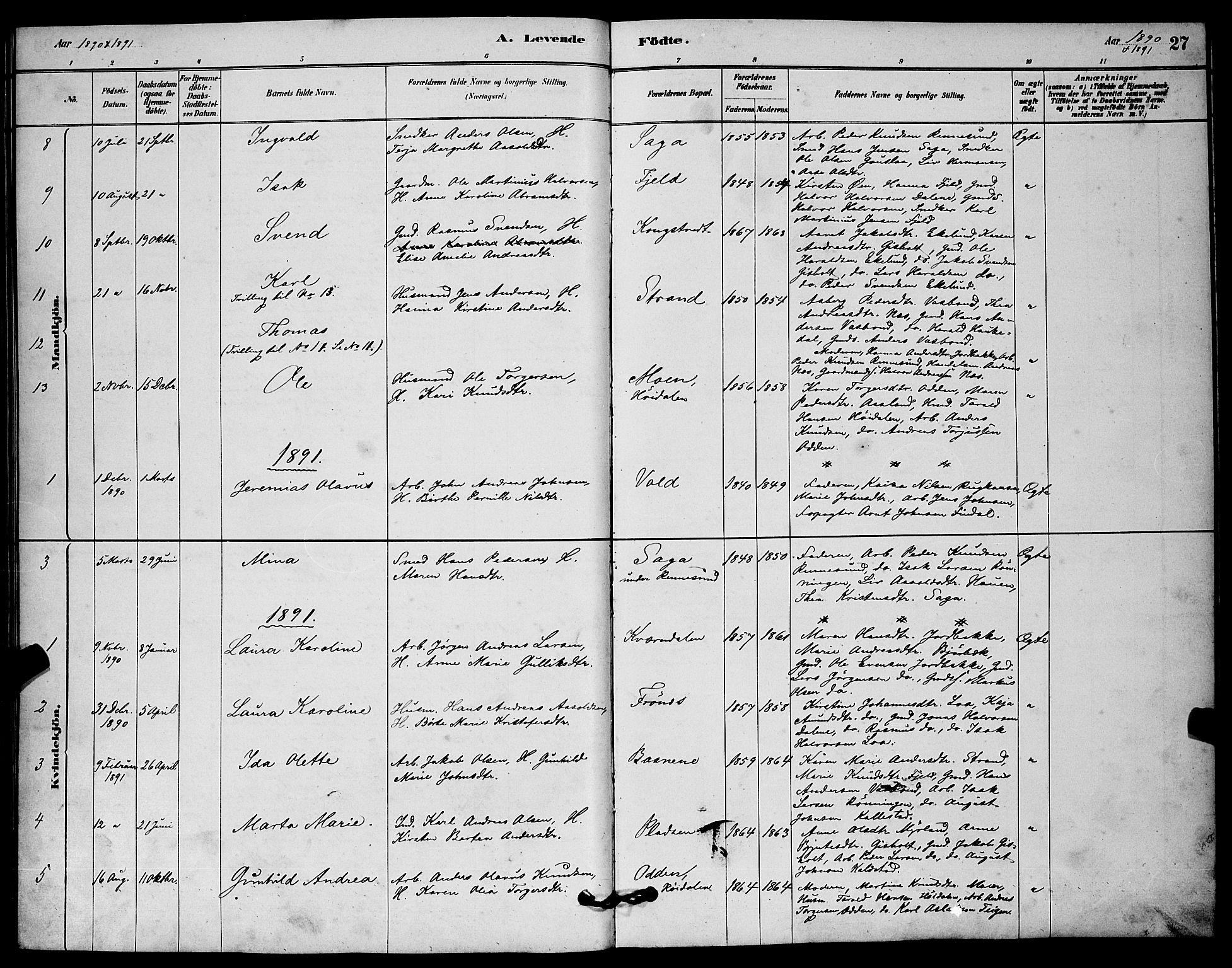 SAKO, Solum kirkebøker, G/Gc/L0001: Klokkerbok nr. III 1, 1880-1902, s. 27