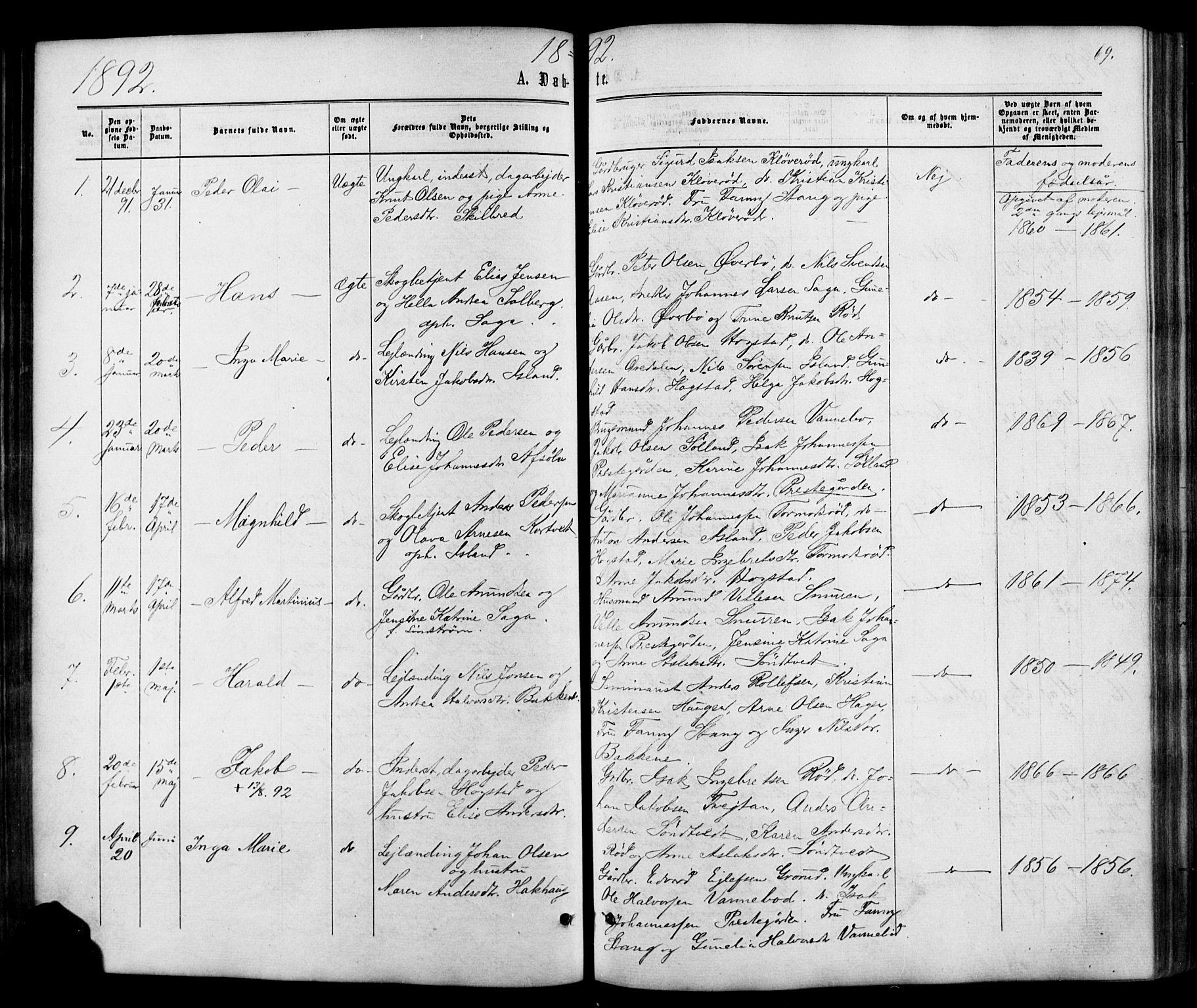 SAKO, Siljan kirkebøker, G/Ga/L0002: Klokkerbok nr. 2, 1864-1908, s. 69