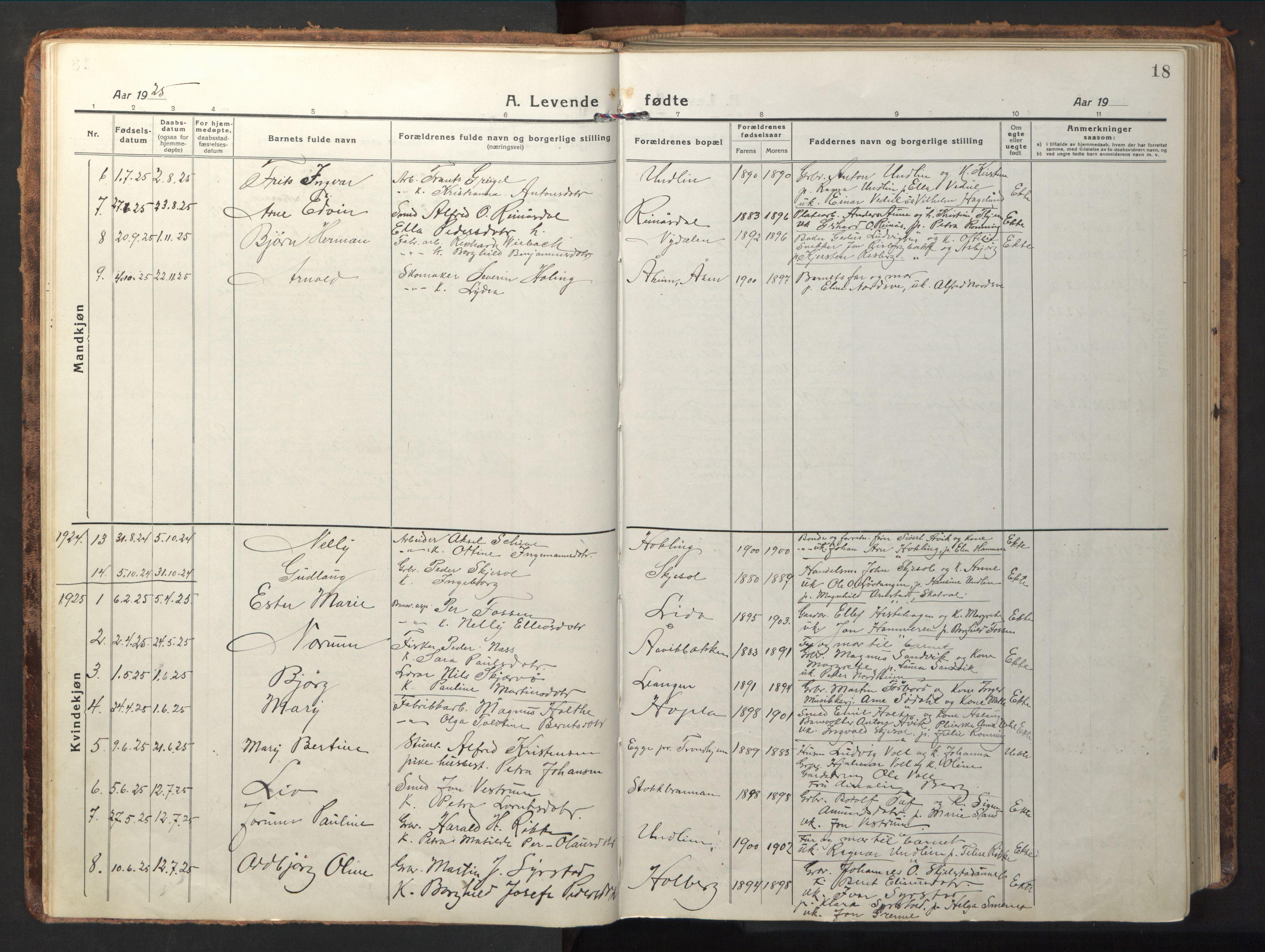 SAT, Ministerialprotokoller, klokkerbøker og fødselsregistre - Nord-Trøndelag, 714/L0136: Klokkerbok nr. 714C05, 1918-1957, s. 18