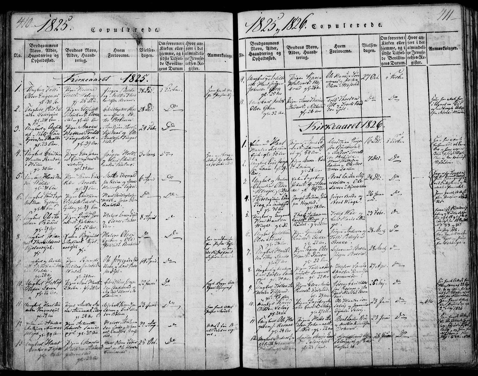 SAKO, Sande Kirkebøker, F/Fa/L0003: Ministerialbok nr. 3, 1814-1847, s. 410-411