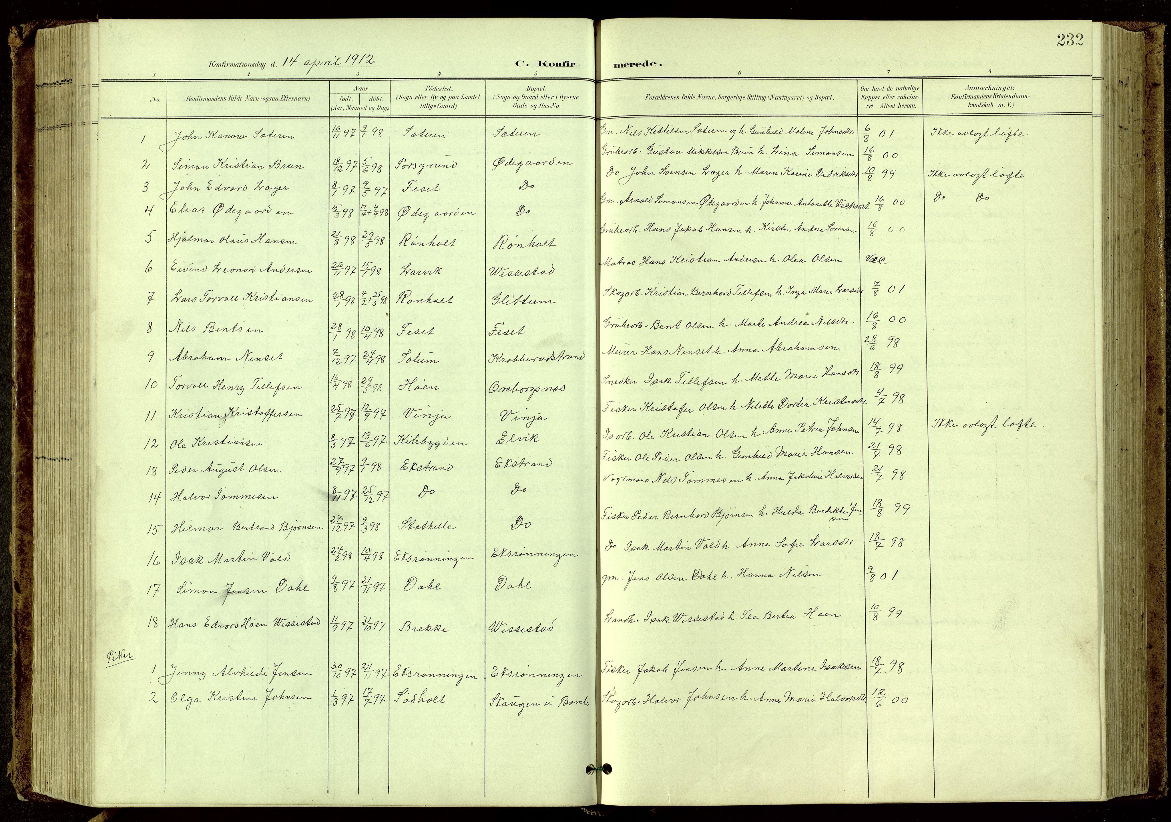 SAKO, Bamble kirkebøker, G/Ga/L0010: Klokkerbok nr. I 10, 1901-1919, s. 232