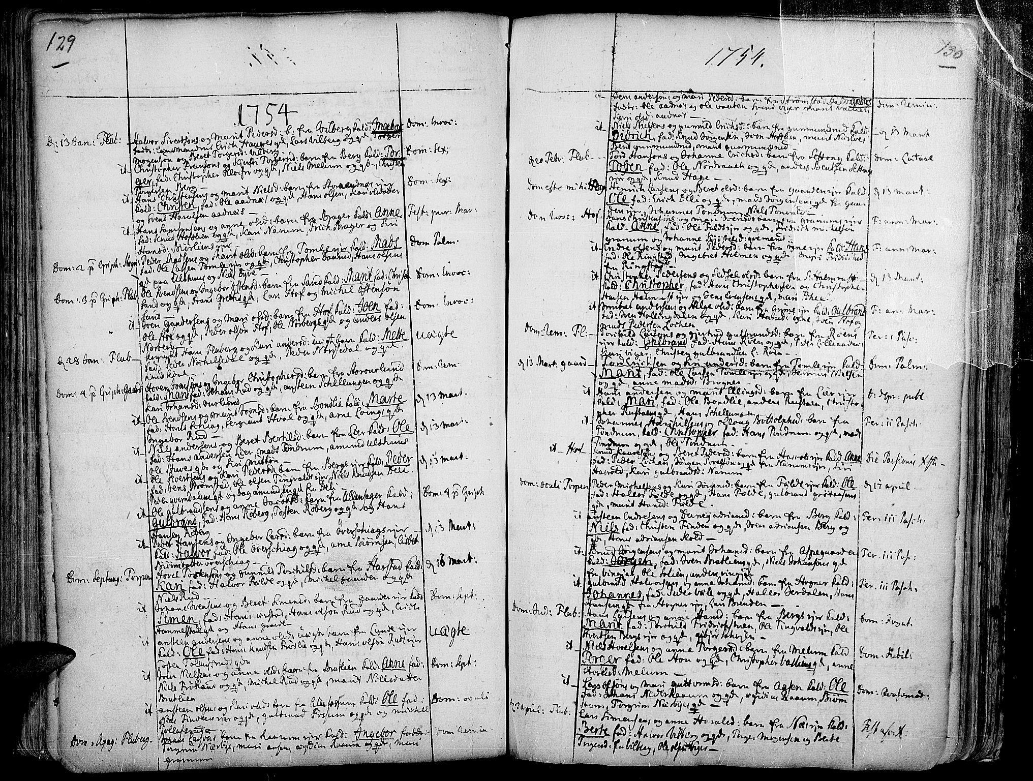 SAH, Land prestekontor, Ministerialbok nr. 2, 1733-1764, s. 129-130