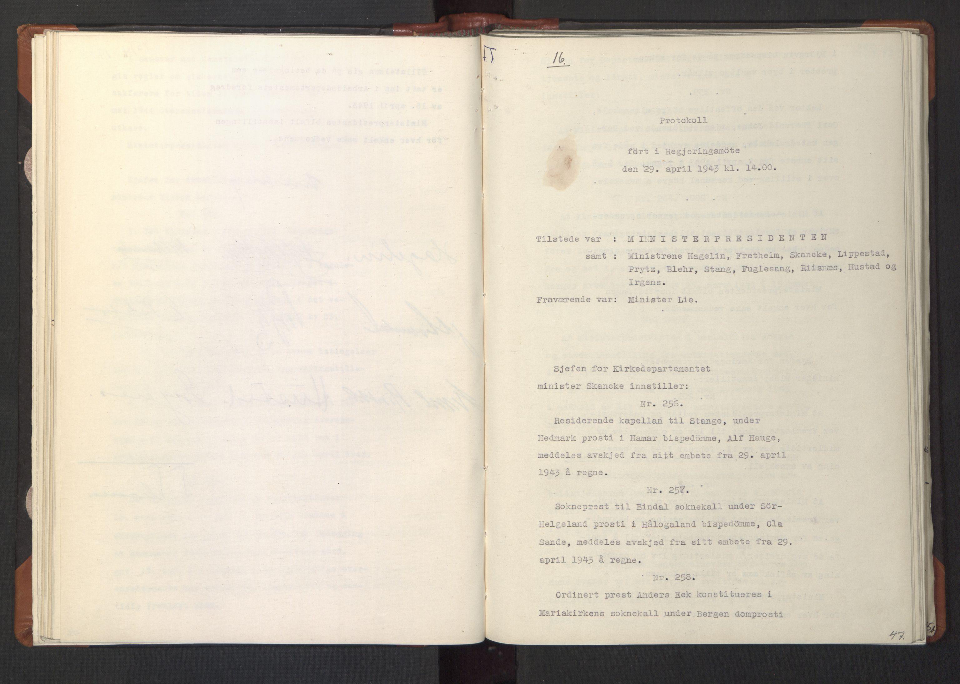 RA, NS-administrasjonen 1940-1945 (Statsrådsekretariatet, de kommisariske statsråder mm), D/Da/L0003: Vedtak (Beslutninger) nr. 1-746 og tillegg nr. 1-47 (RA. j.nr. 1394/1944, tilgangsnr. 8/1944, 1943, s. 46b-47a