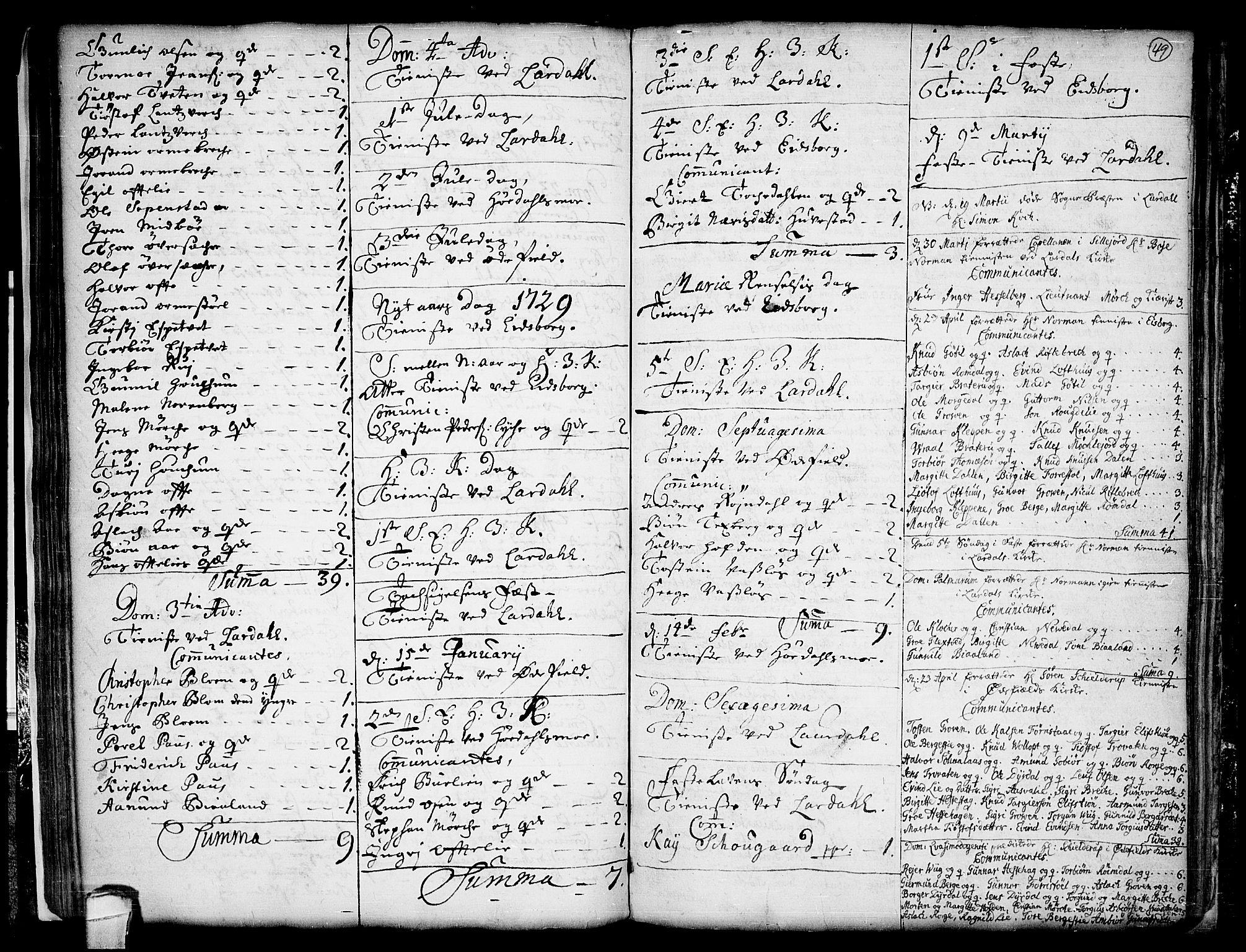 SAKO, Lårdal kirkebøker, F/Fa/L0001: Ministerialbok nr. I 1, 1721-1734, s. 49