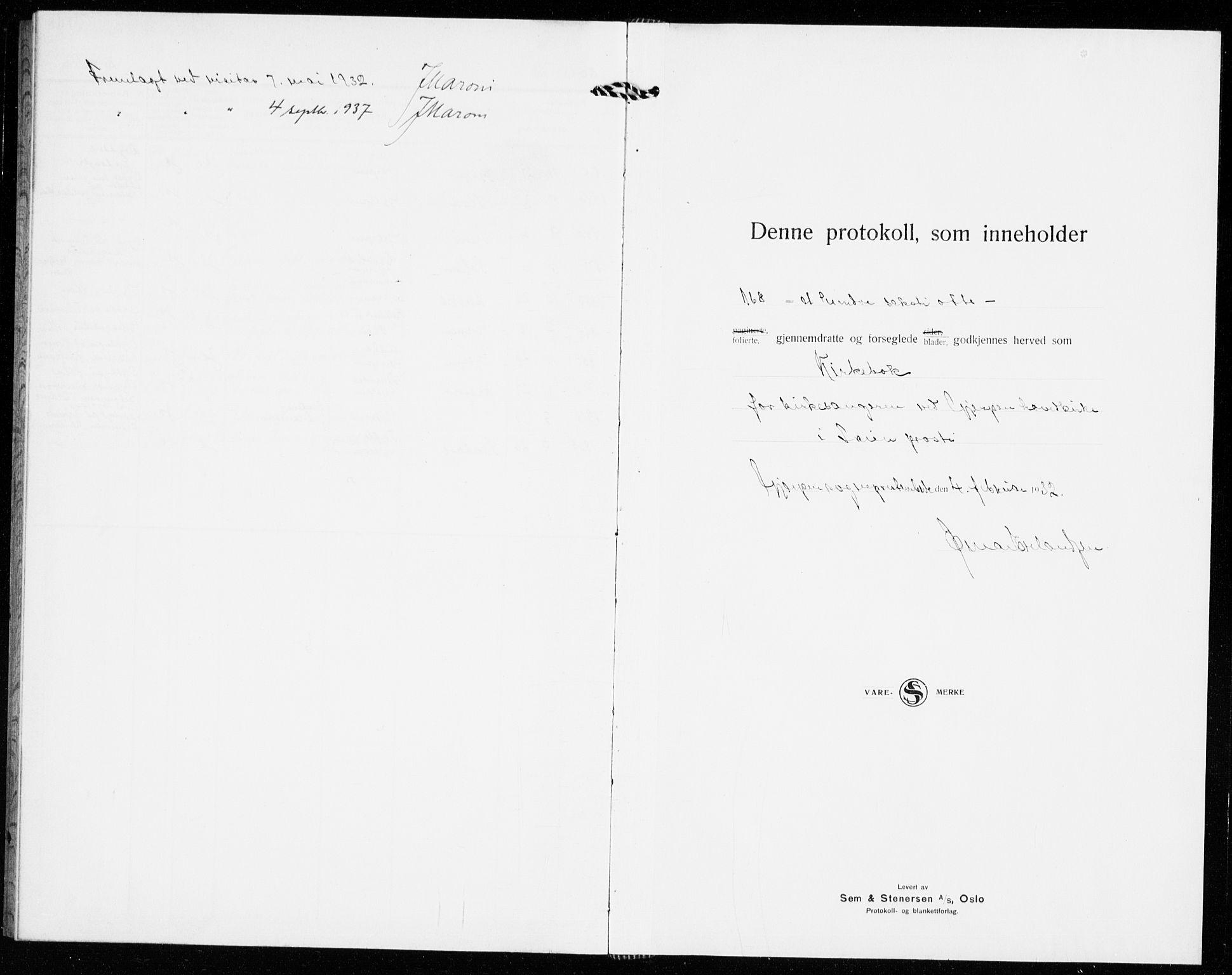 SAKO, Gjerpen kirkebøker, G/Ga/L0005: Klokkerbok nr. I 5, 1932-1940