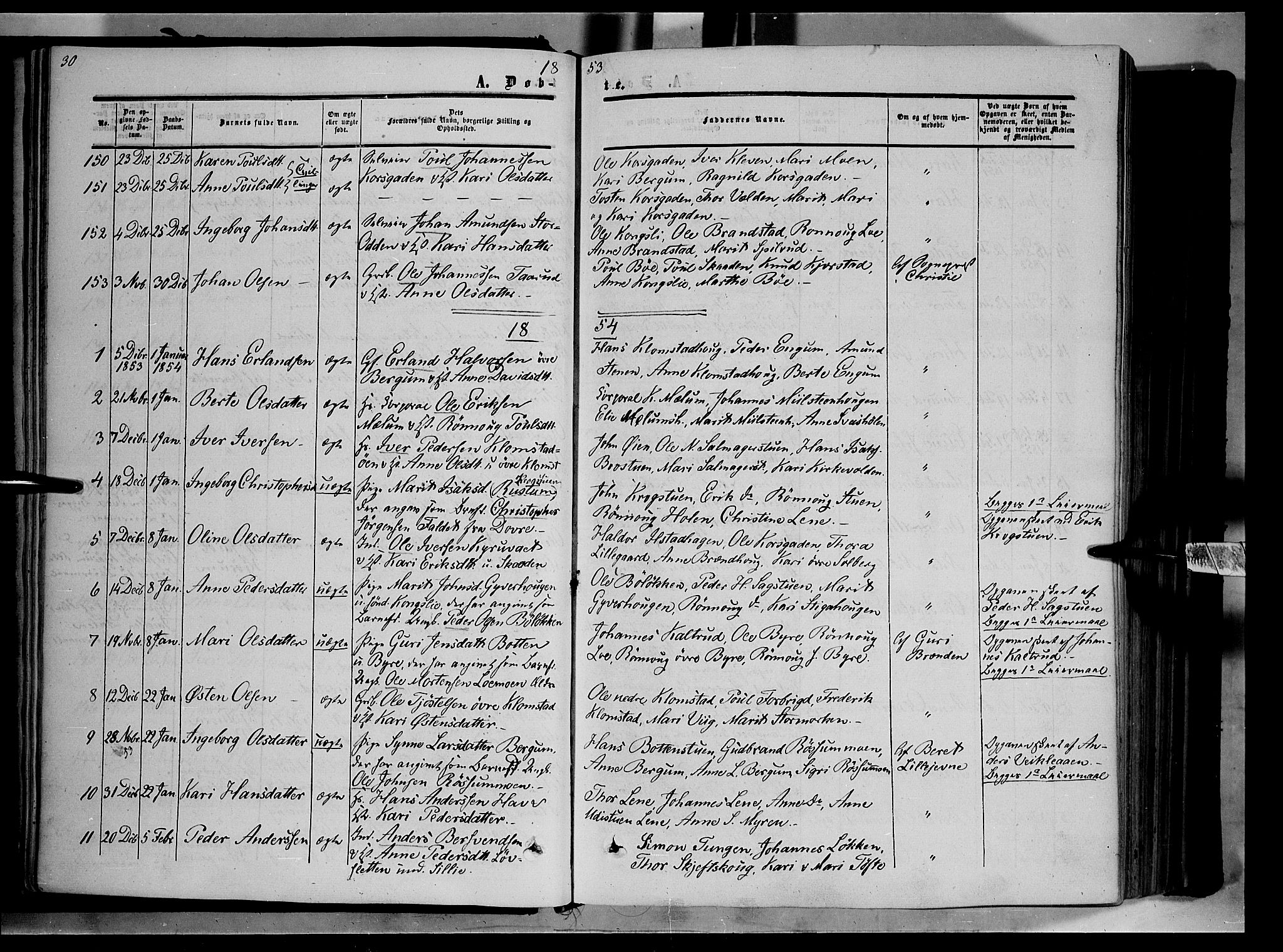 SAH, Nord-Fron prestekontor, Ministerialbok nr. 1, 1851-1864, s. 30