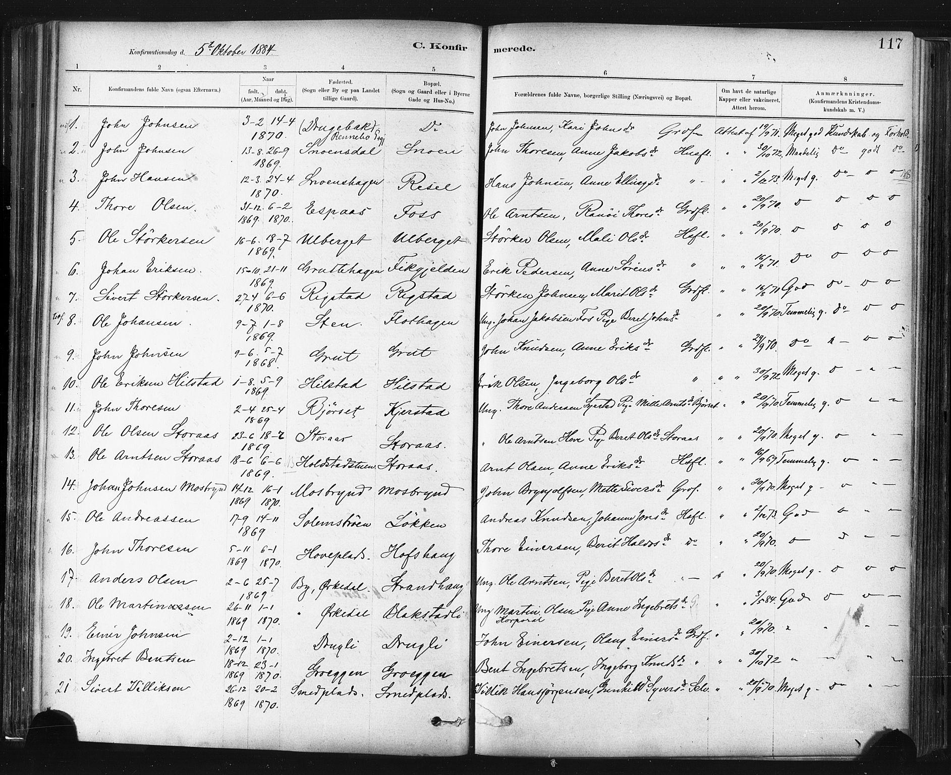 SAT, Ministerialprotokoller, klokkerbøker og fødselsregistre - Sør-Trøndelag, 672/L0857: Ministerialbok nr. 672A09, 1882-1893, s. 117