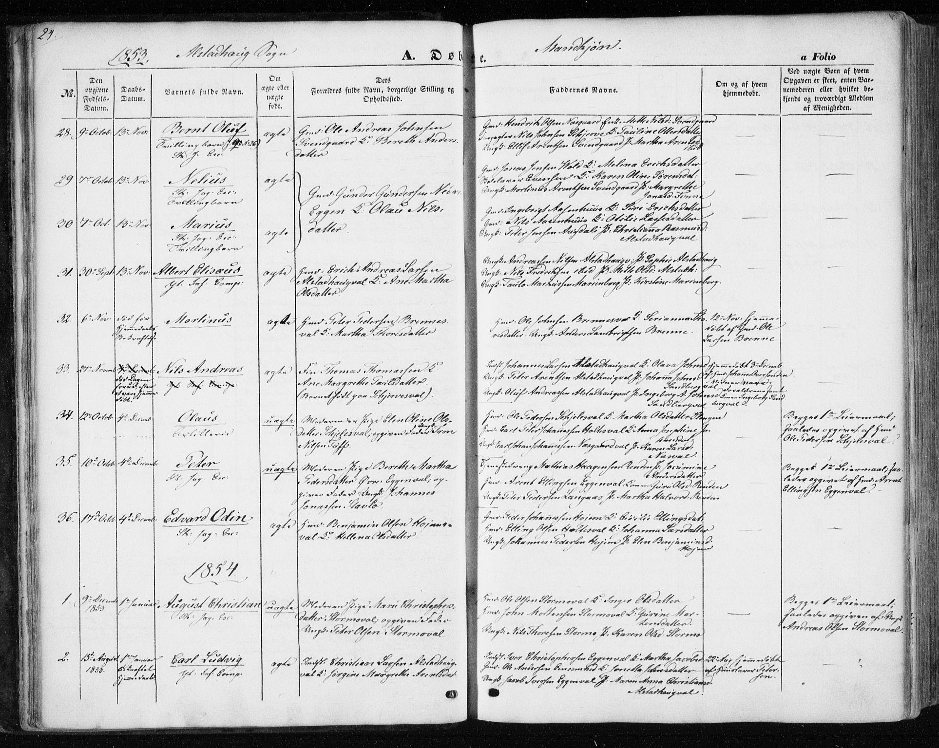 SAT, Ministerialprotokoller, klokkerbøker og fødselsregistre - Nord-Trøndelag, 717/L0154: Ministerialbok nr. 717A07 /1, 1850-1862, s. 24
