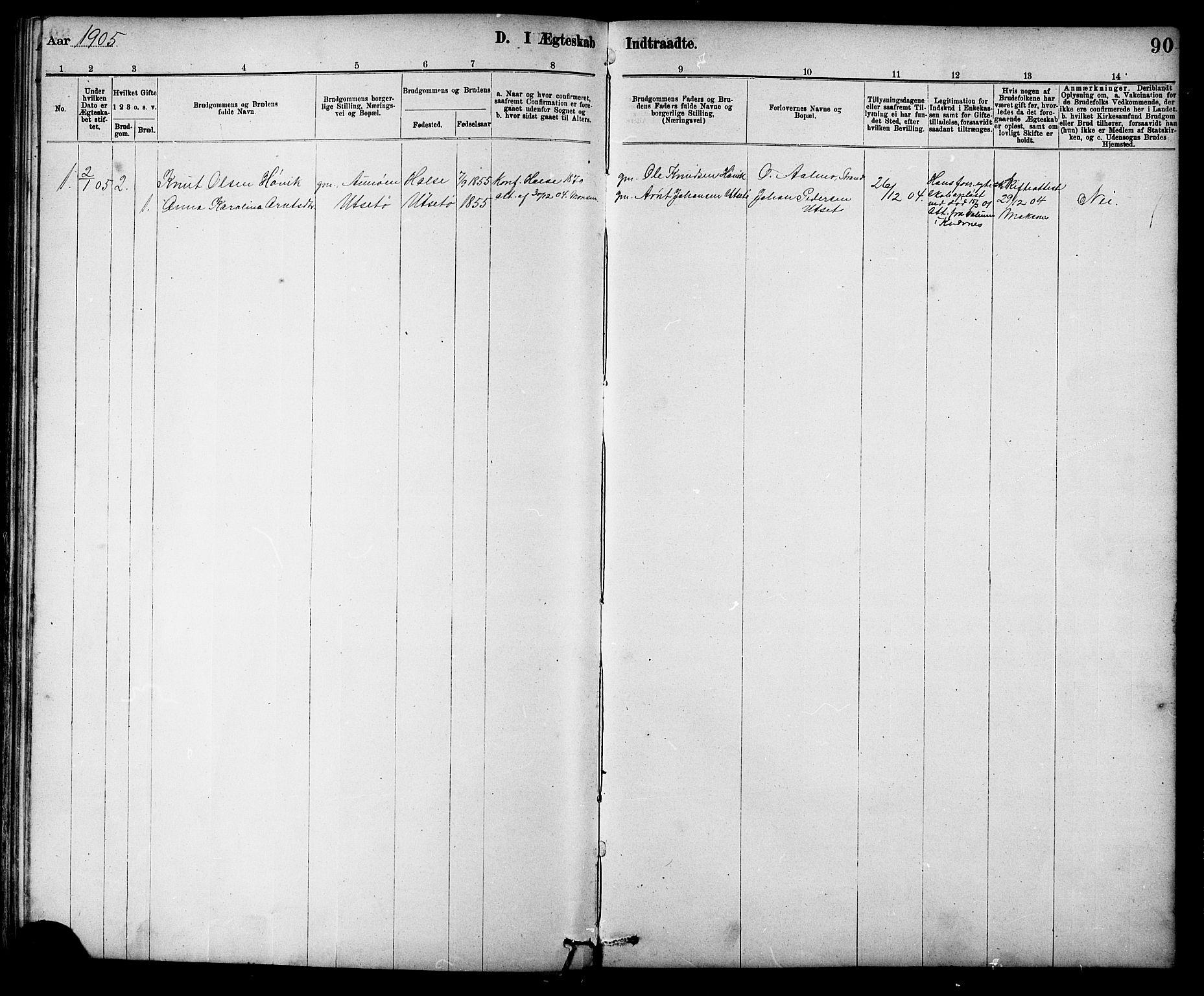SAT, Ministerialprotokoller, klokkerbøker og fødselsregistre - Sør-Trøndelag, 639/L0573: Klokkerbok nr. 639C01, 1890-1905, s. 90