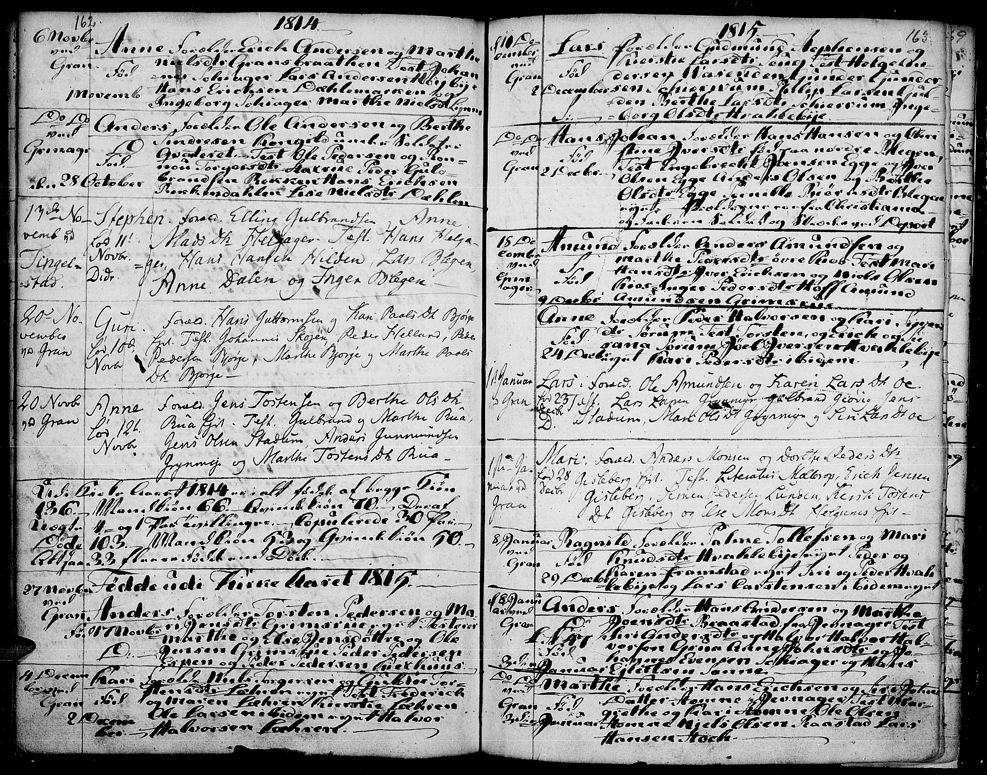 SAH, Gran prestekontor, Ministerialbok nr. 7, 1804-1815, s. 162-163