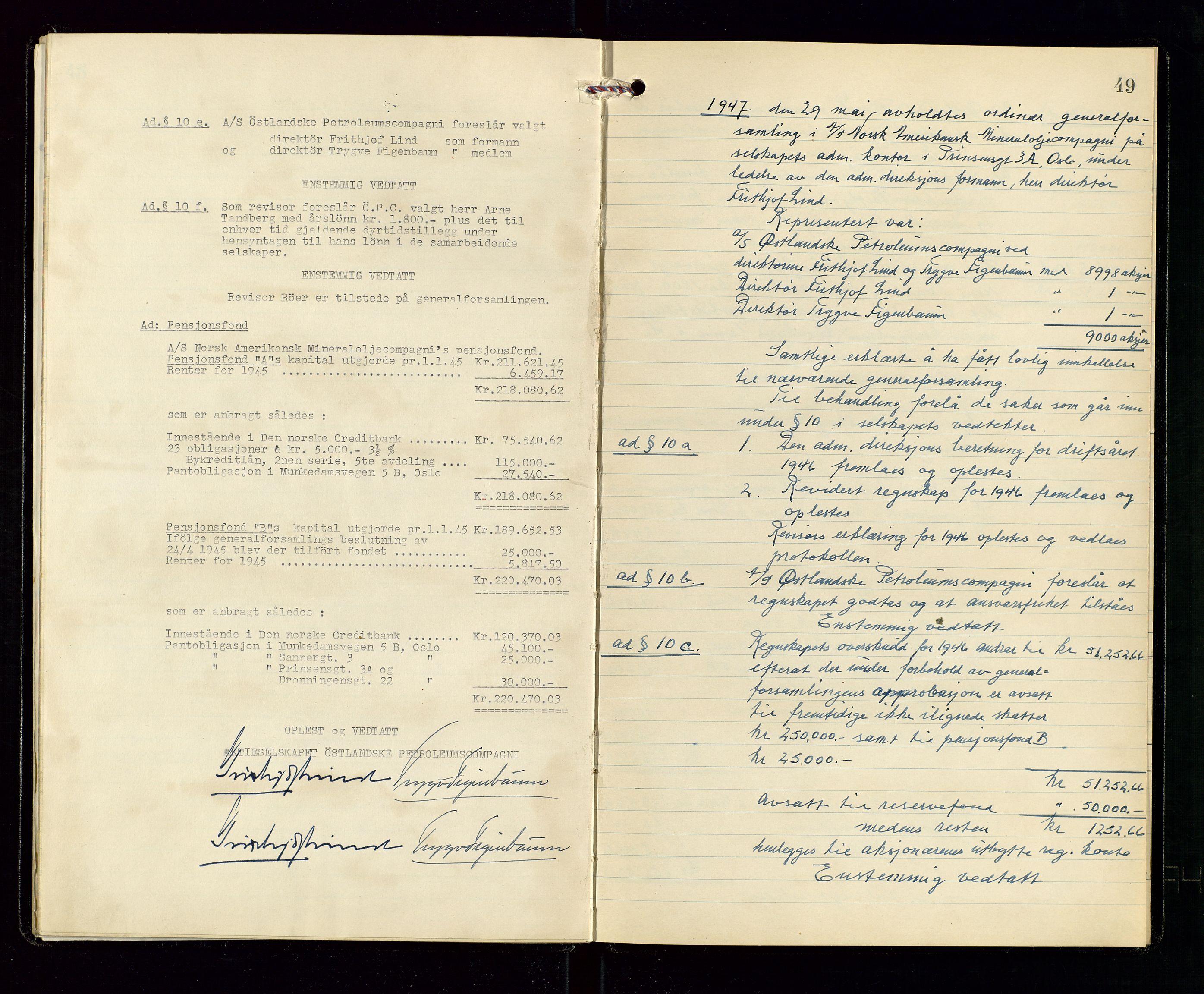 SAST, Pa 1536 - Esso Norge as, Vallø Oljeraffineri og lager, A/Aa/L0001: Generalforsamlinger og bilag til generalforsamlinger, 1934-1950, s. 48-49