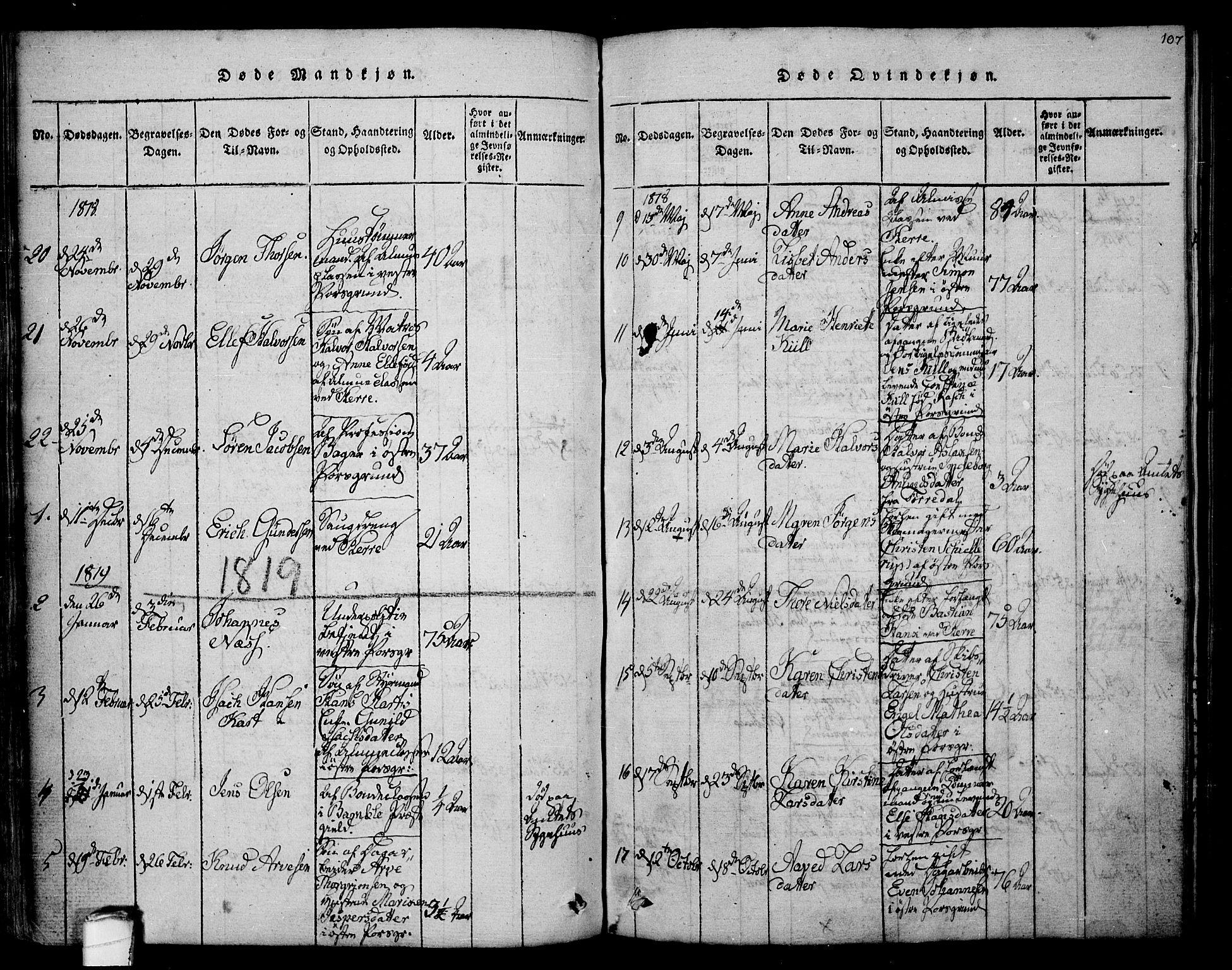 SAKO, Porsgrunn kirkebøker , F/Fa/L0004: Ministerialbok nr. 4, 1814-1828, s. 107