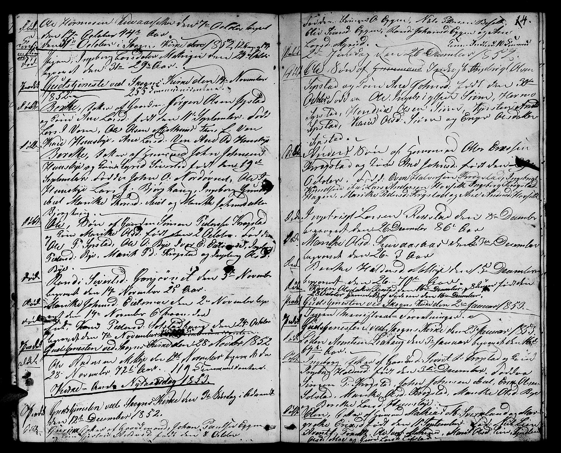 SAT, Ministerialprotokoller, klokkerbøker og fødselsregistre - Sør-Trøndelag, 667/L0797: Klokkerbok nr. 667C02, 1849-1867, s. 14