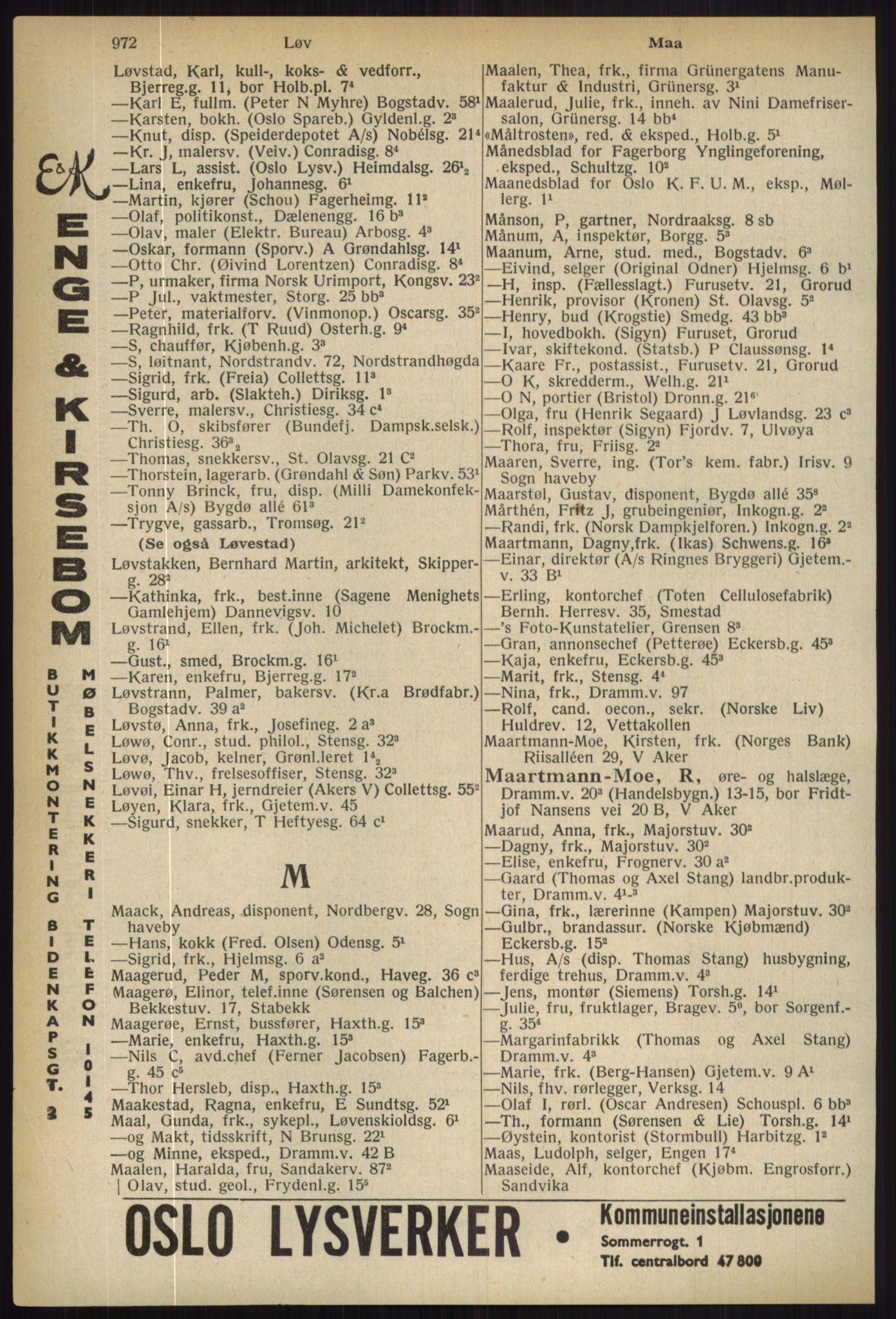 RA, Oslo adressebok (publikasjon)*, 1936, s. 972