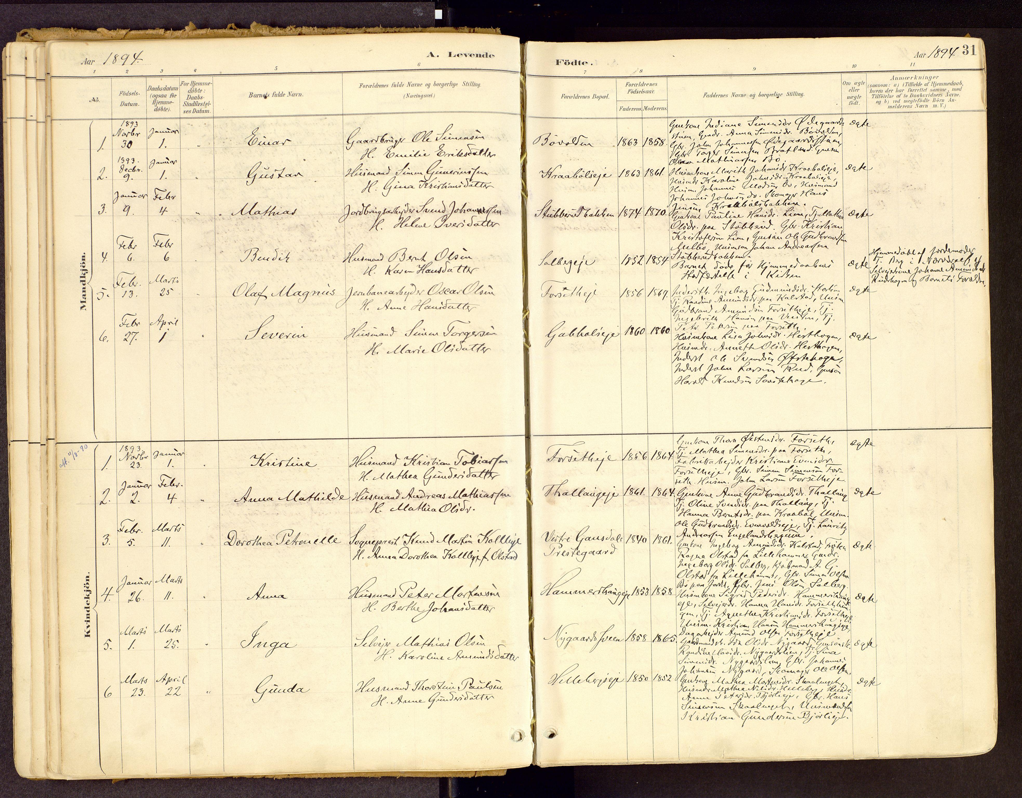 SAH, Vestre Gausdal prestekontor, Ministerialbok nr. 1, 1887-1914, s. 31