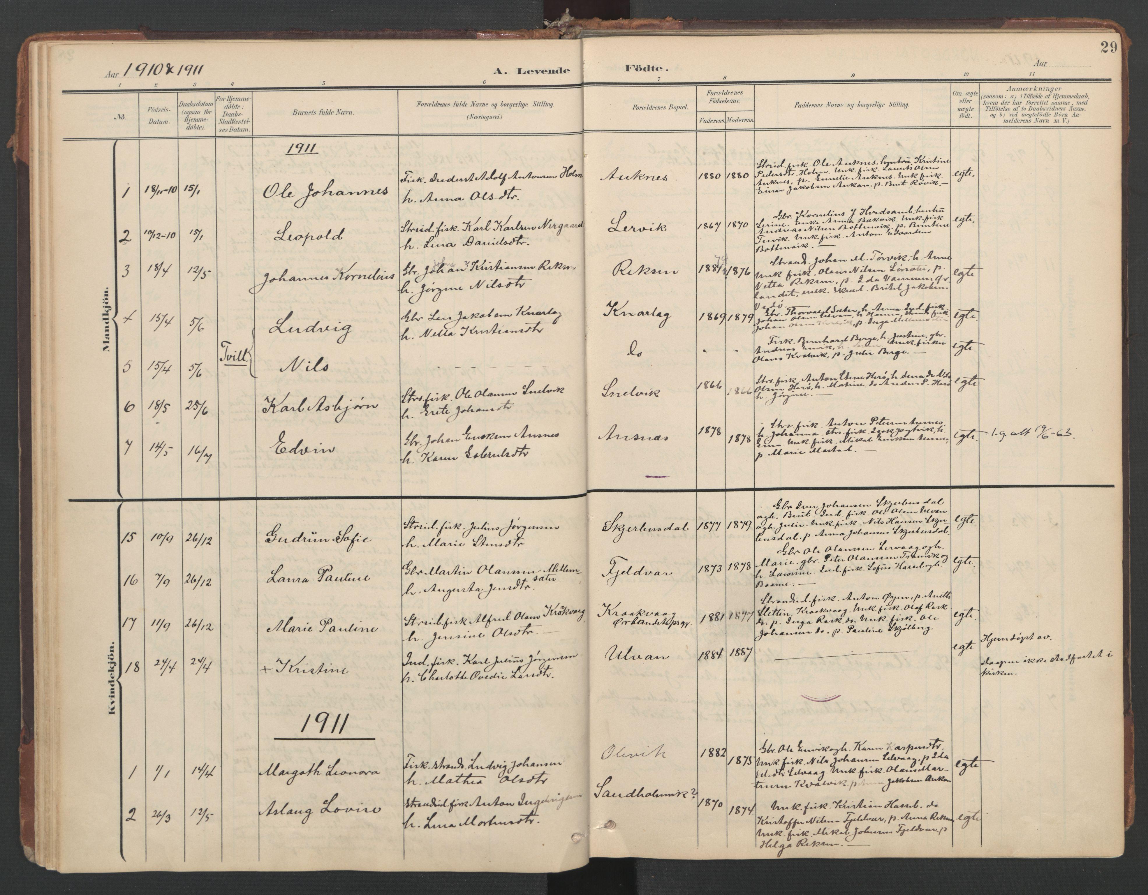 SAT, Ministerialprotokoller, klokkerbøker og fødselsregistre - Sør-Trøndelag, 638/L0568: Ministerialbok nr. 638A01, 1901-1916, s. 29