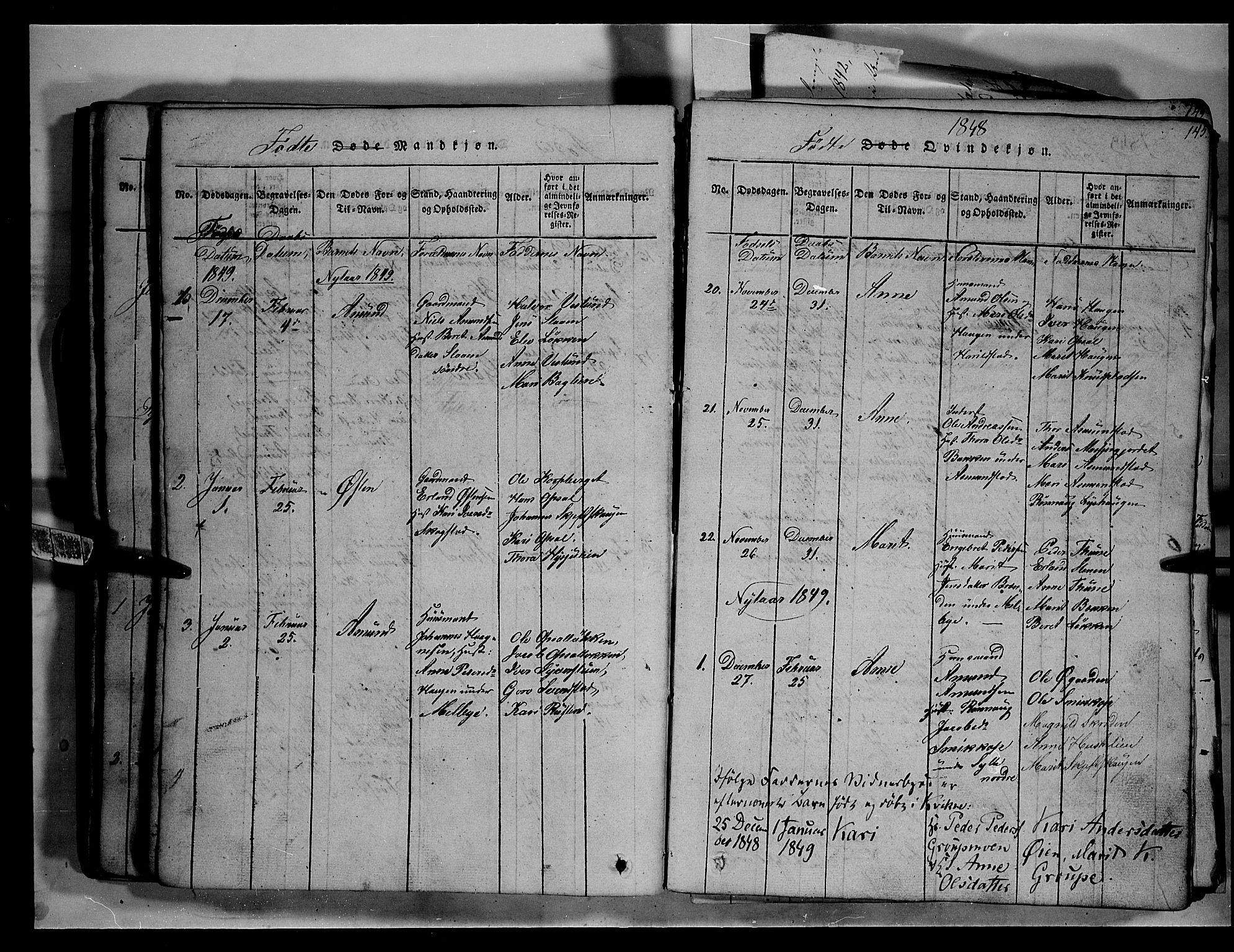 SAH, Fron prestekontor, H/Ha/Hab/L0003: Klokkerbok nr. 3, 1816-1850, s. 145