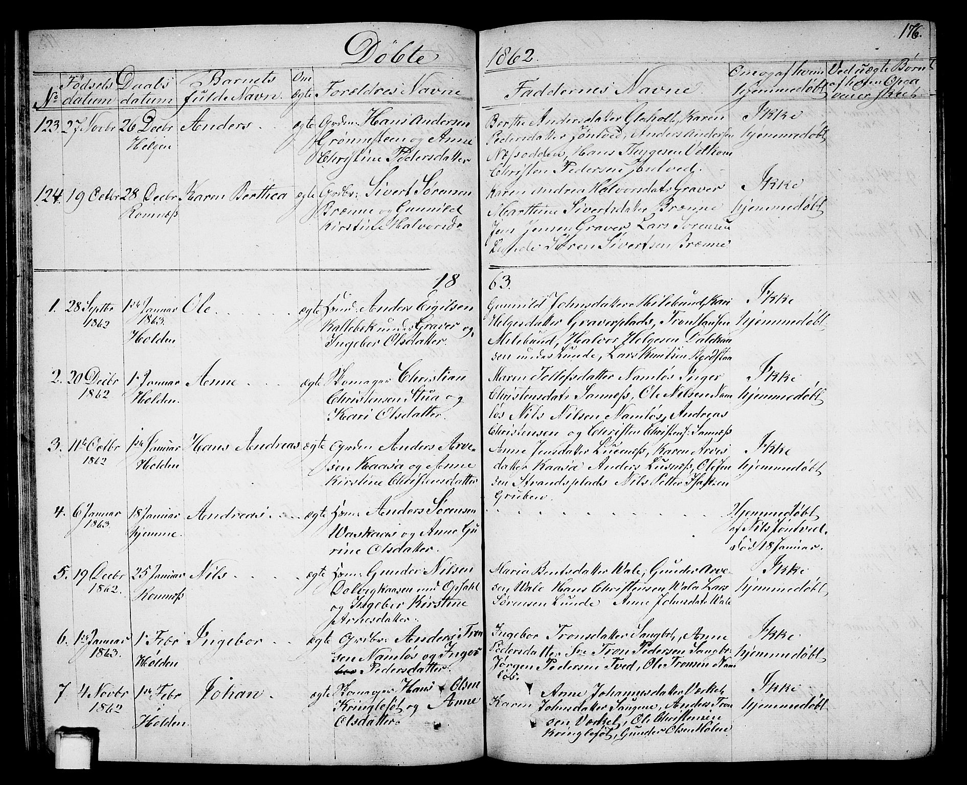 SAKO, Holla kirkebøker, G/Ga/L0003: Klokkerbok nr. I 3, 1849-1866, s. 176