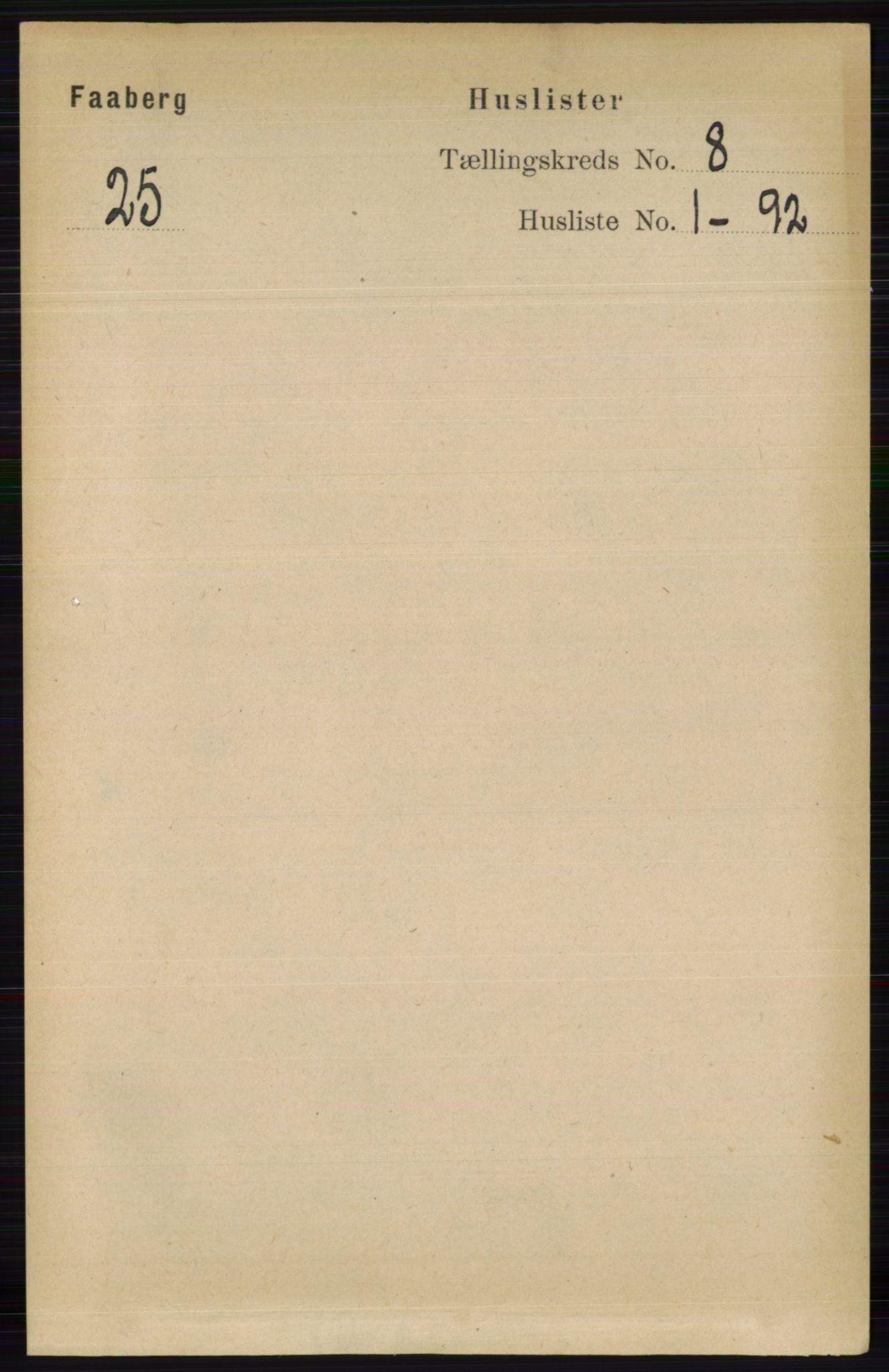 RA, Folketelling 1891 for 0524 Fåberg herred, 1891, s. 3321