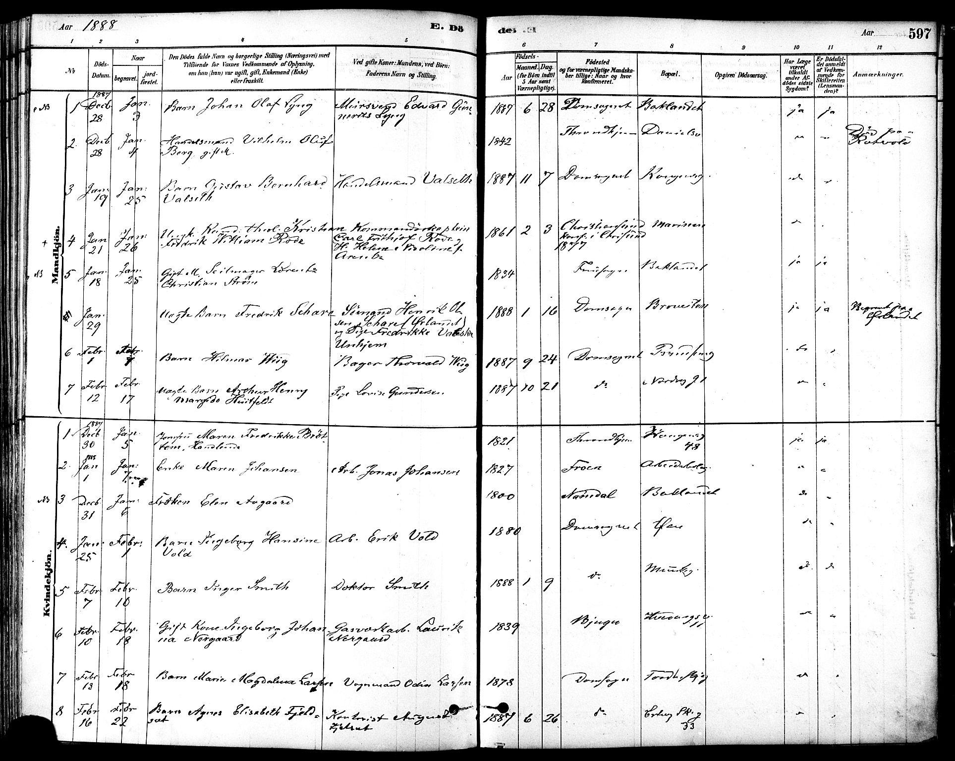 SAT, Ministerialprotokoller, klokkerbøker og fødselsregistre - Sør-Trøndelag, 601/L0058: Ministerialbok nr. 601A26, 1877-1891, s. 597