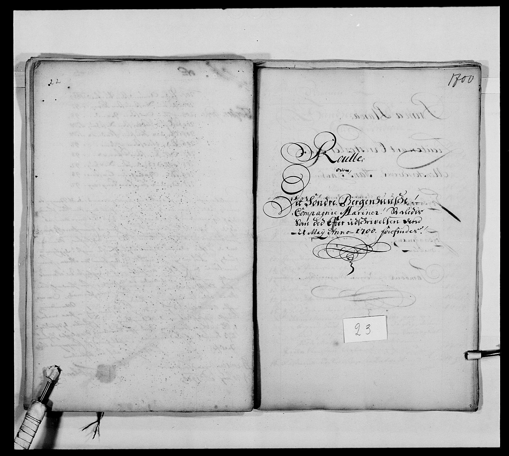RA, Kommanderende general (KG I) med Det norske krigsdirektorium, E/Ea/L0473: Marineregimentet, 1664-1700, s. 274