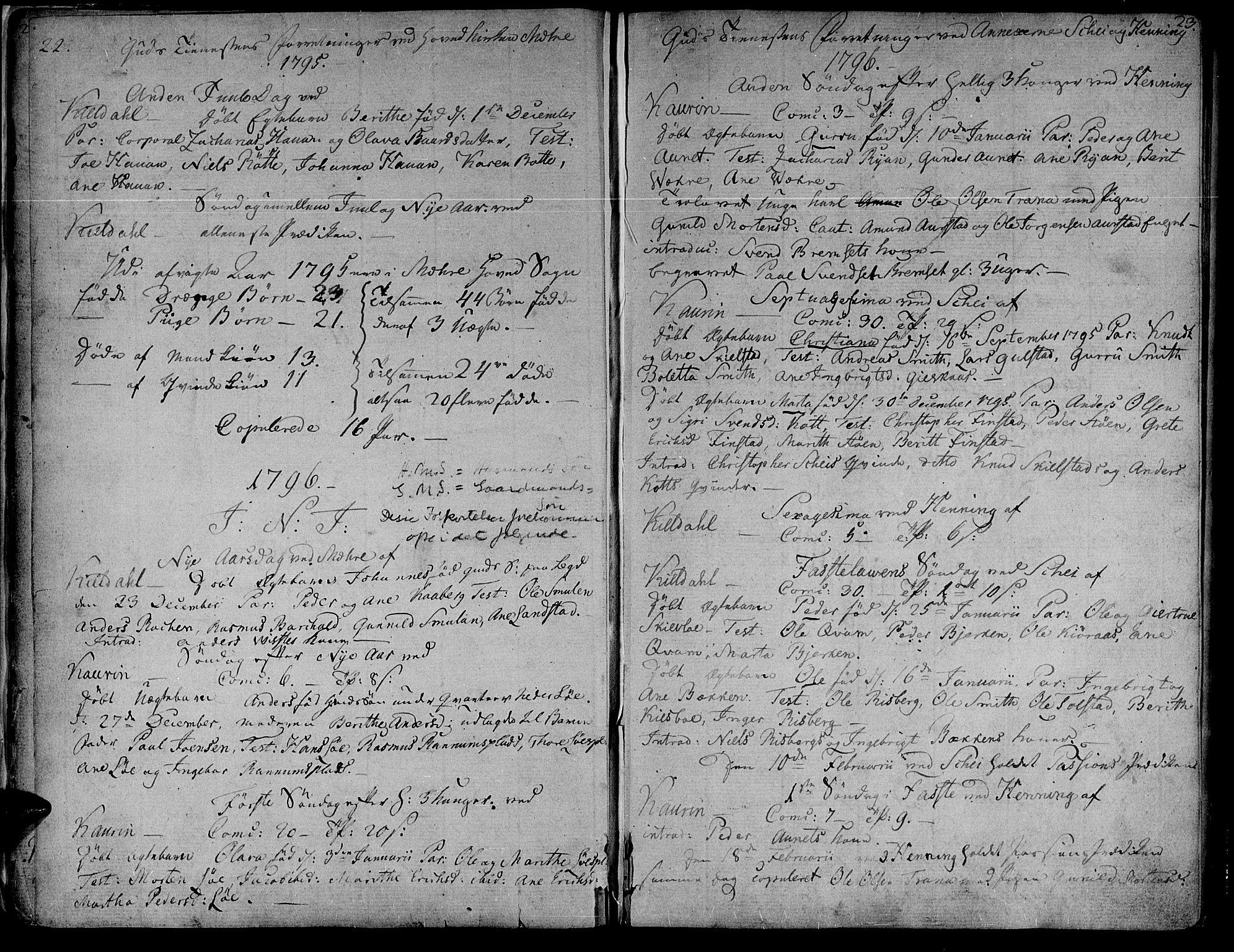 SAT, Ministerialprotokoller, klokkerbøker og fødselsregistre - Nord-Trøndelag, 735/L0332: Ministerialbok nr. 735A03, 1795-1816, s. 22-23