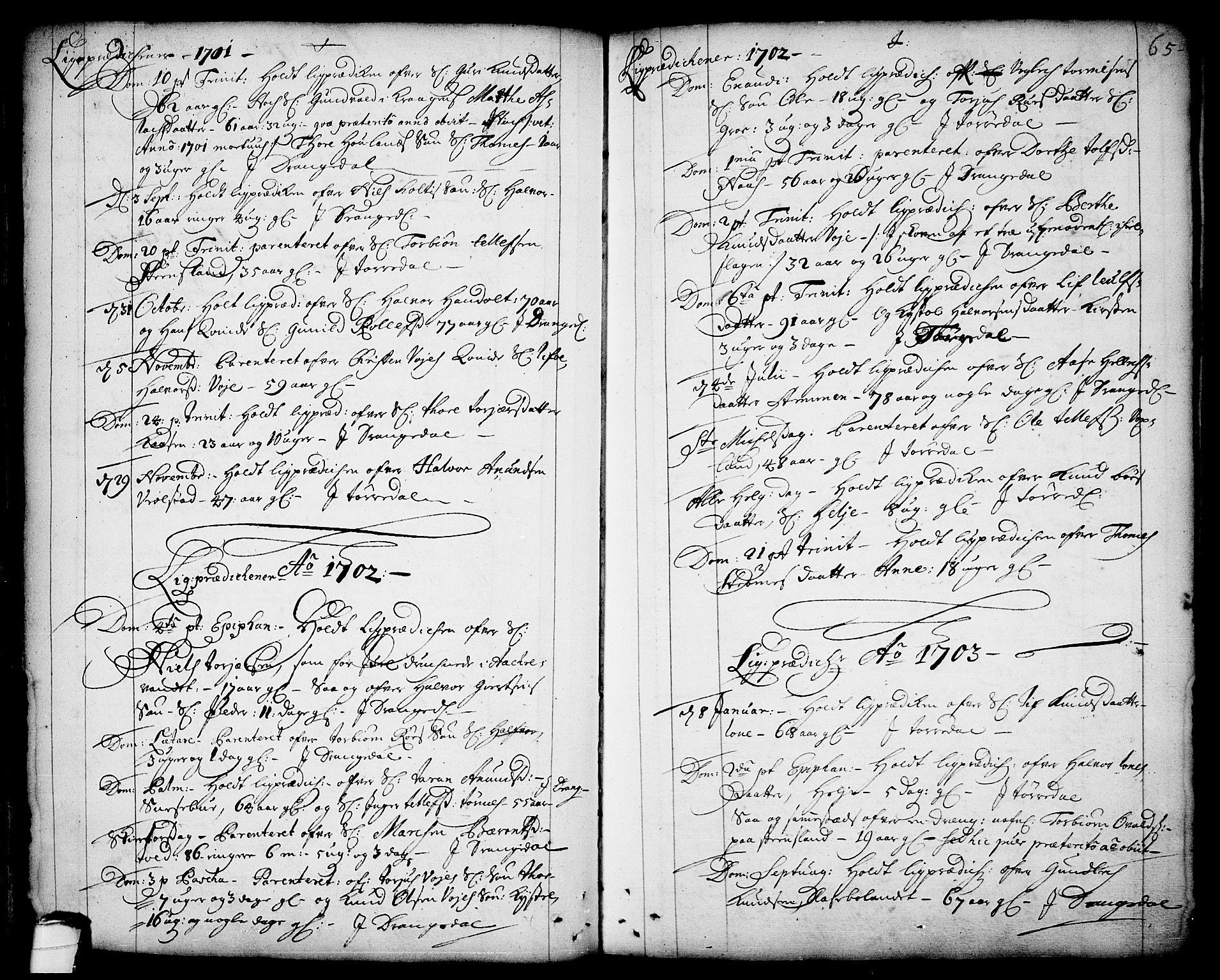 SAKO, Drangedal kirkebøker, F/Fa/L0001: Ministerialbok nr. 1, 1697-1767, s. 65